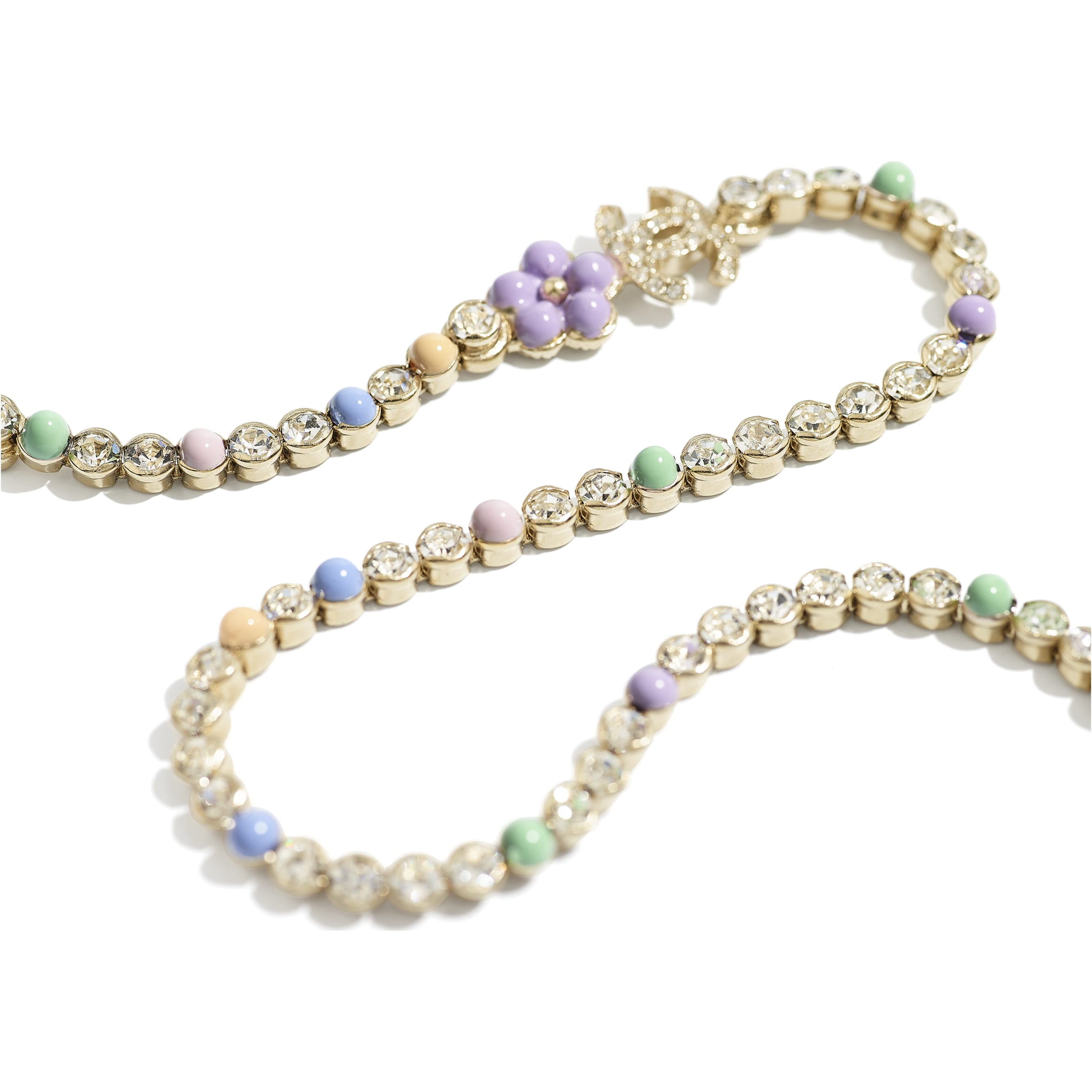 Necklace - Gold, Pearly White, Multicolour & Crystal - Metal, Glass Pearls & Diamantés - CHANEL - Alternative view - see standard sized version