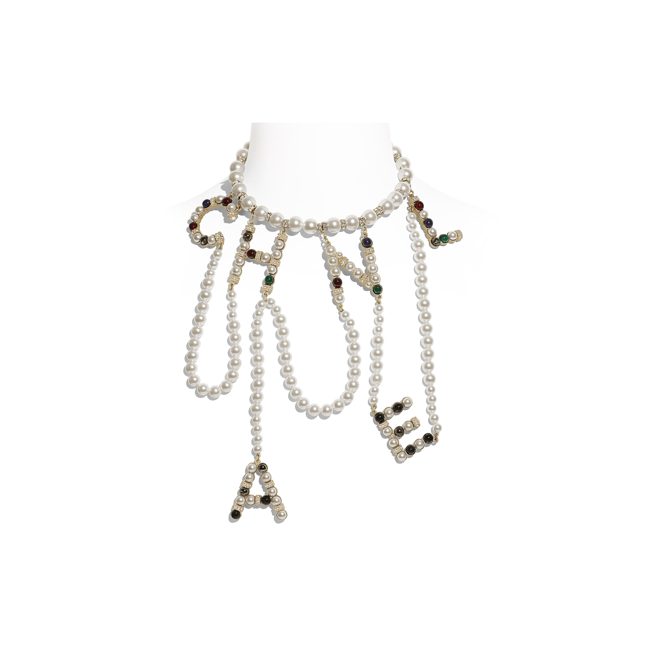 Necklace - Gold, Pearly White, Multicolour & Crystal - Metal, Glass Pearls & Diamantés - Default view - see standard sized version