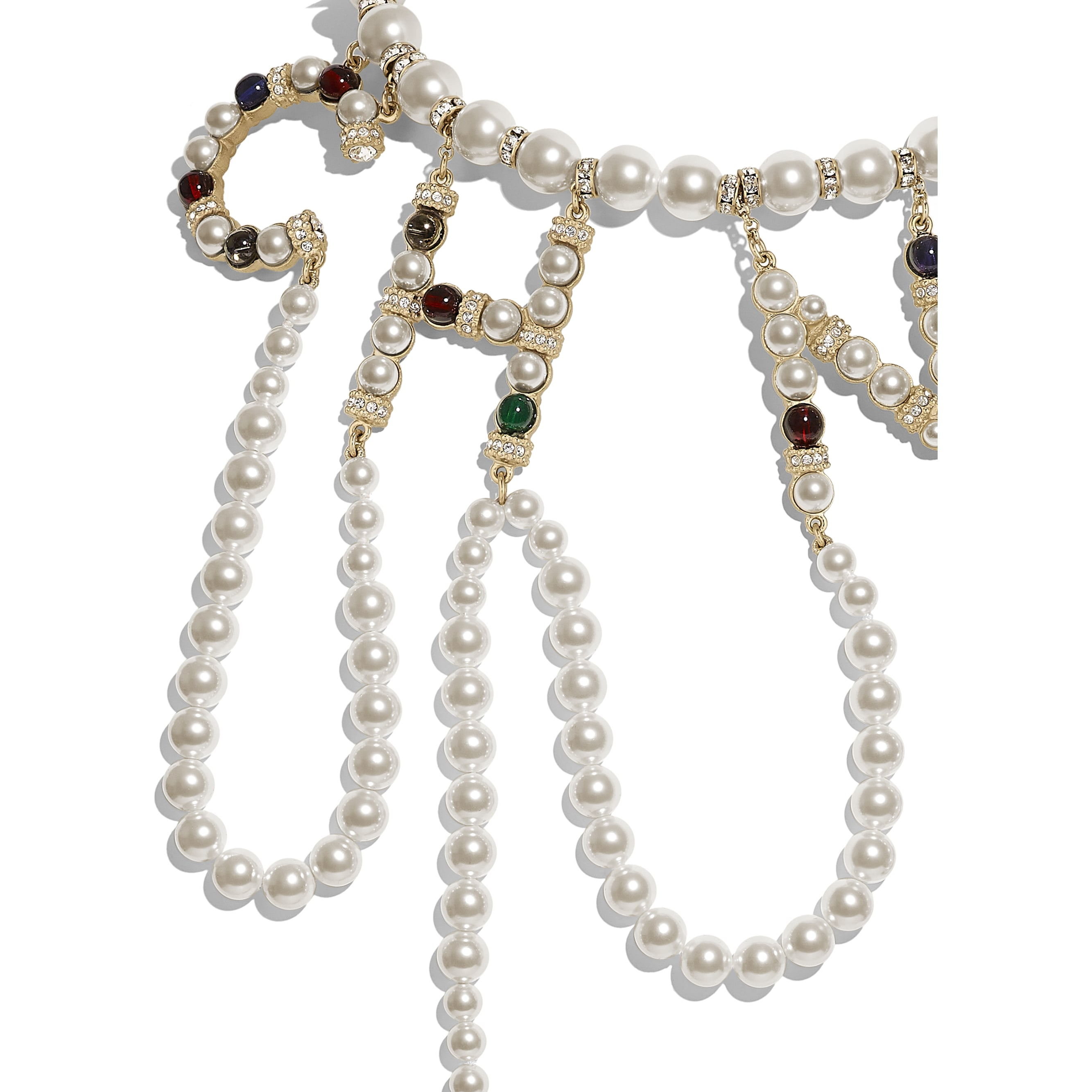 Necklace - Gold, Pearly White, Multicolour & Crystal - Metal, Glass Pearls & Diamantés - Other view - see standard sized version