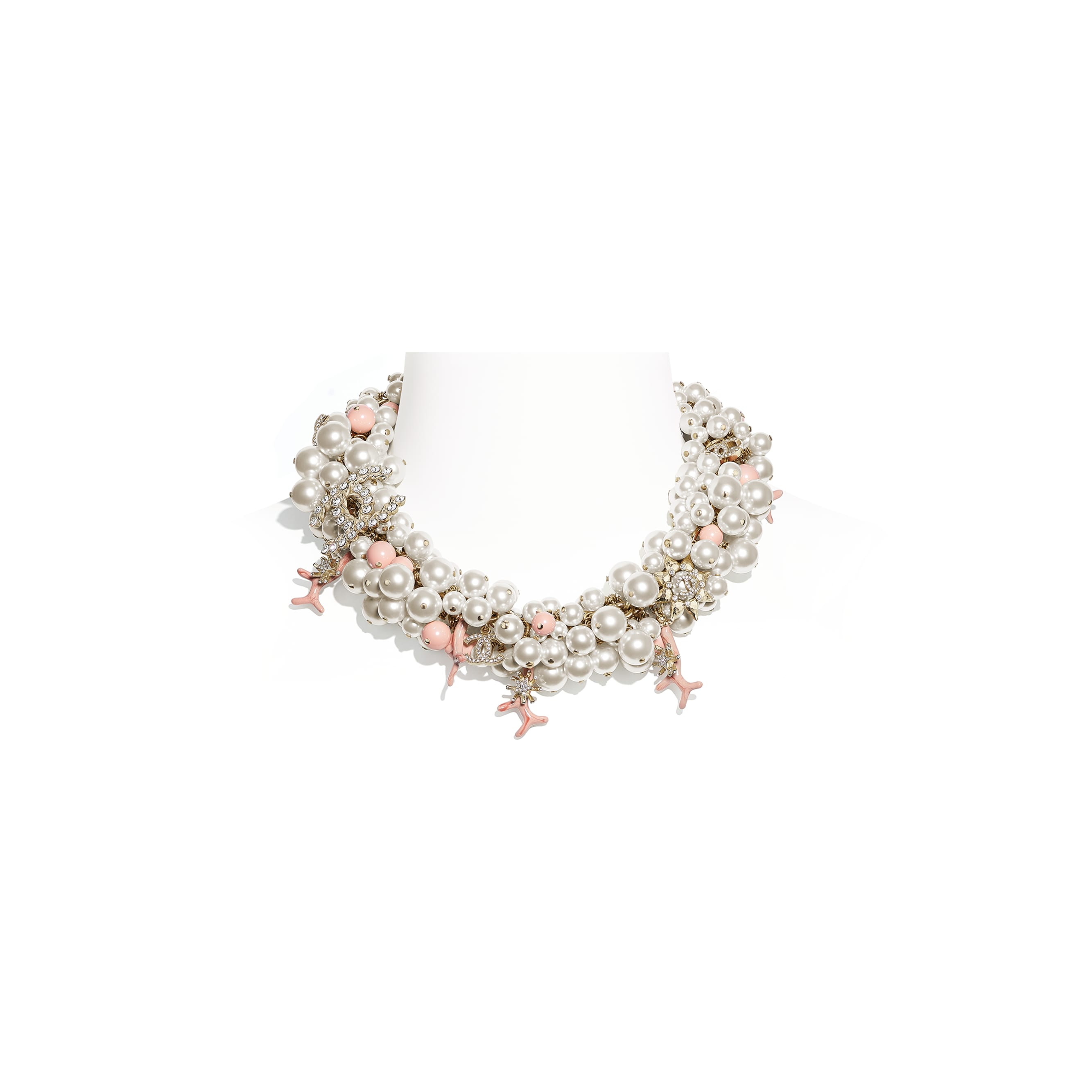 Necklace - Gold, Pearly White, Crystal & Pink - Metal, Glass Pearls, Diamanté & Resin - CHANEL - Default view - see standard sized version