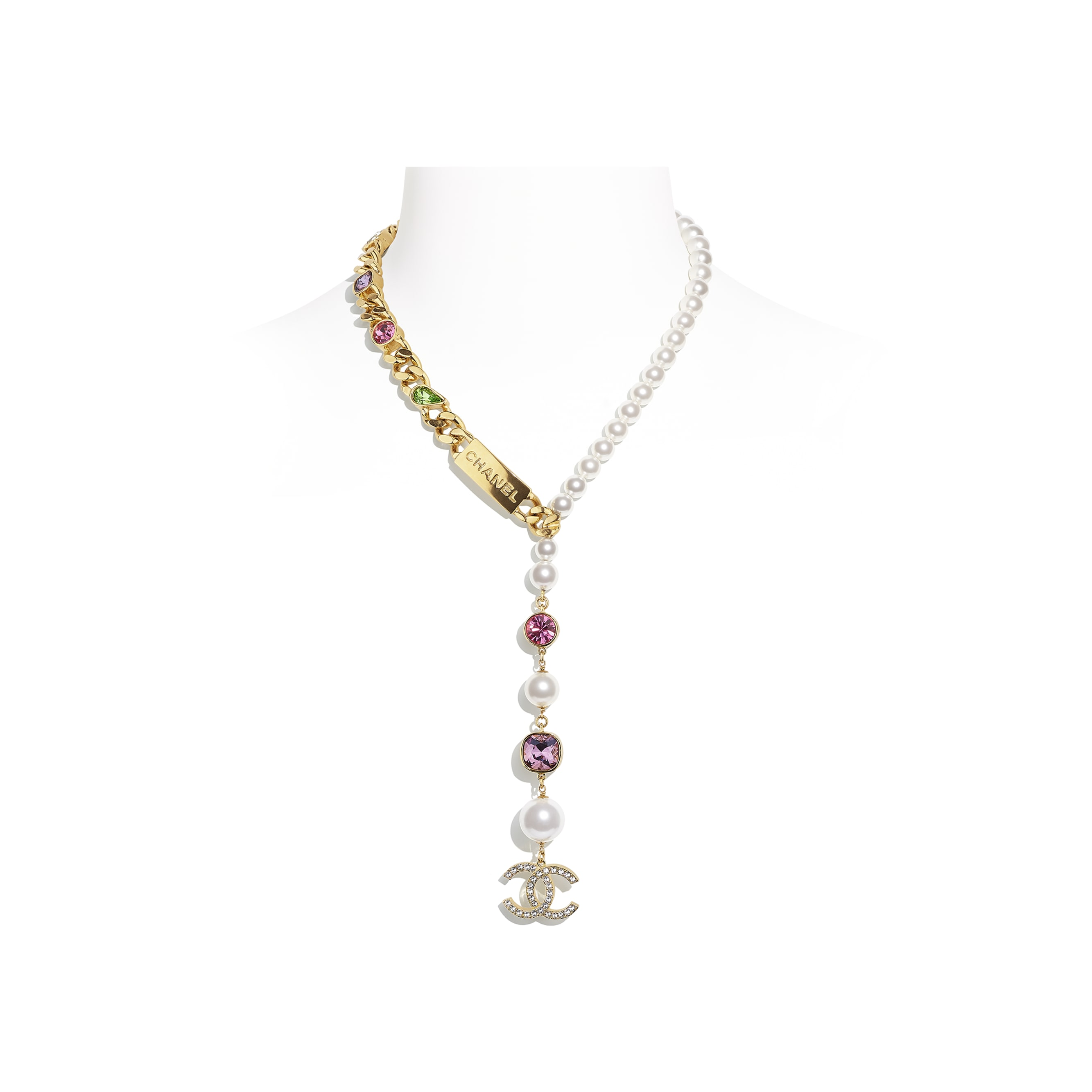 Necklace - Gold, Pearly White, Crystal, Purple & Green - Metal, Glass Pearls & Diamantés - CHANEL - Default view - see standard sized version