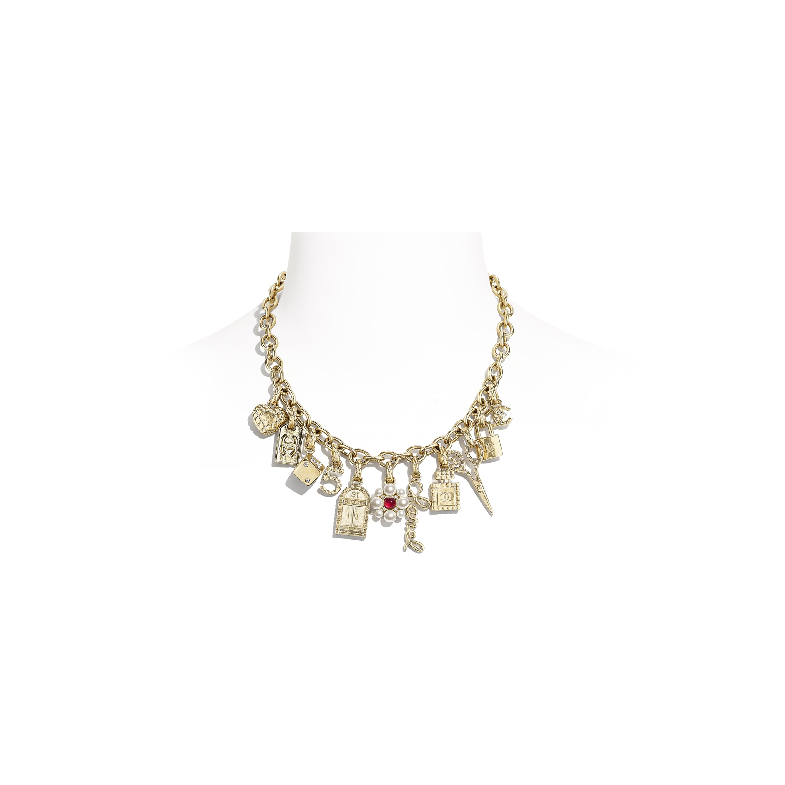 Necklace - Gold, Pearly White, Crystal & Red - Metal, Glass Pearls, Diamanté & Resin - CHANEL - Default view - see standard sized version