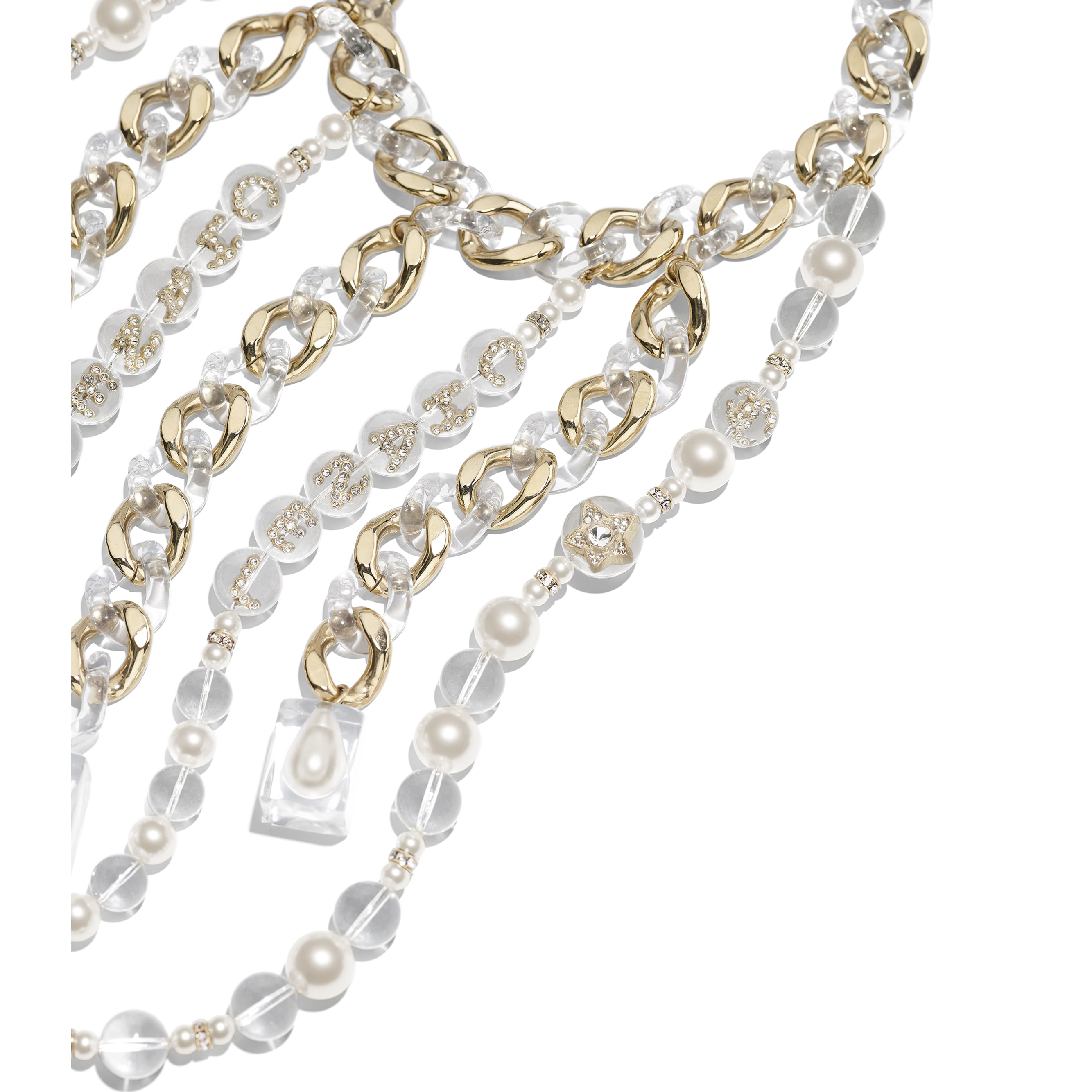 Necklace - Gold, Pearly White, Crystal & Transparent - Metal, Glass Pearls, Imitation Pearls, Diamanté & Resin - Alternative view - see standard sized version