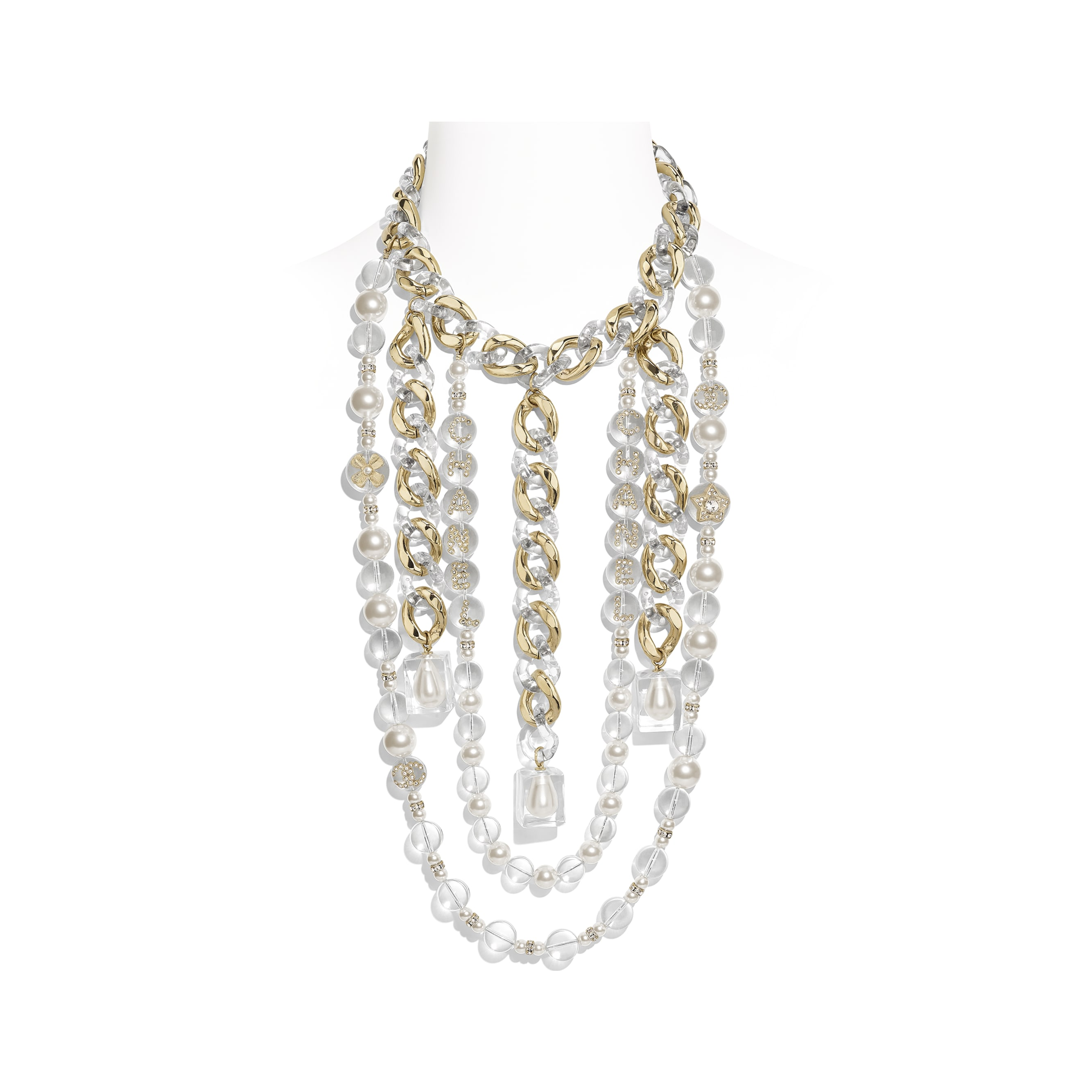 Necklace - Gold, Pearly White, Crystal & Transparent - Metal, Glass Pearls, Imitation Pearls, Diamanté & Resin - Default view - see standard sized version