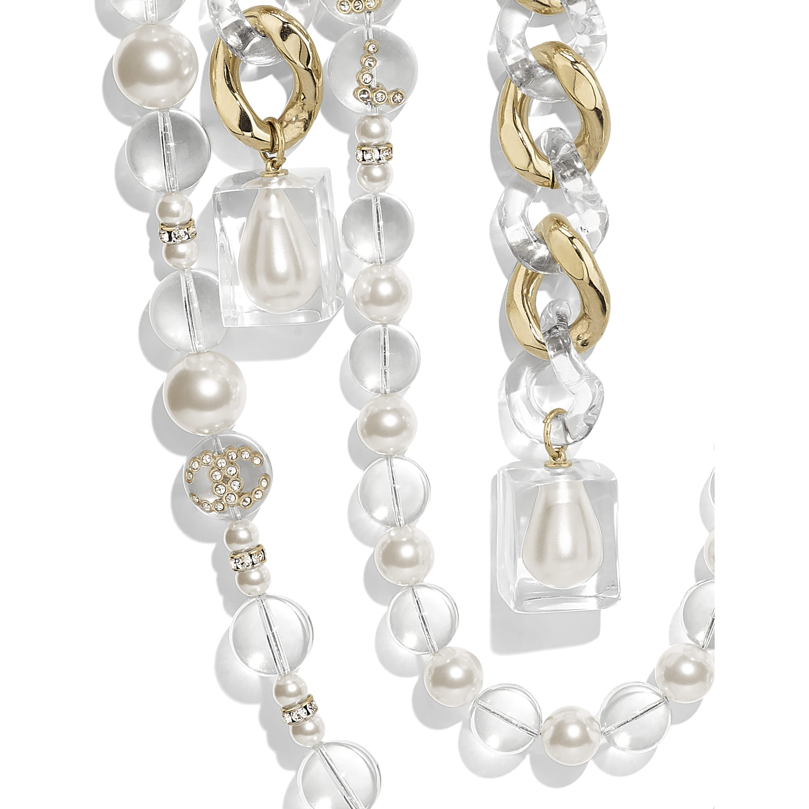 Necklace - Gold, Pearly White, Crystal & Transparent - Metal, Glass Pearls, Imitation Pearls, Diamanté & Resin - Other view - see standard sized version