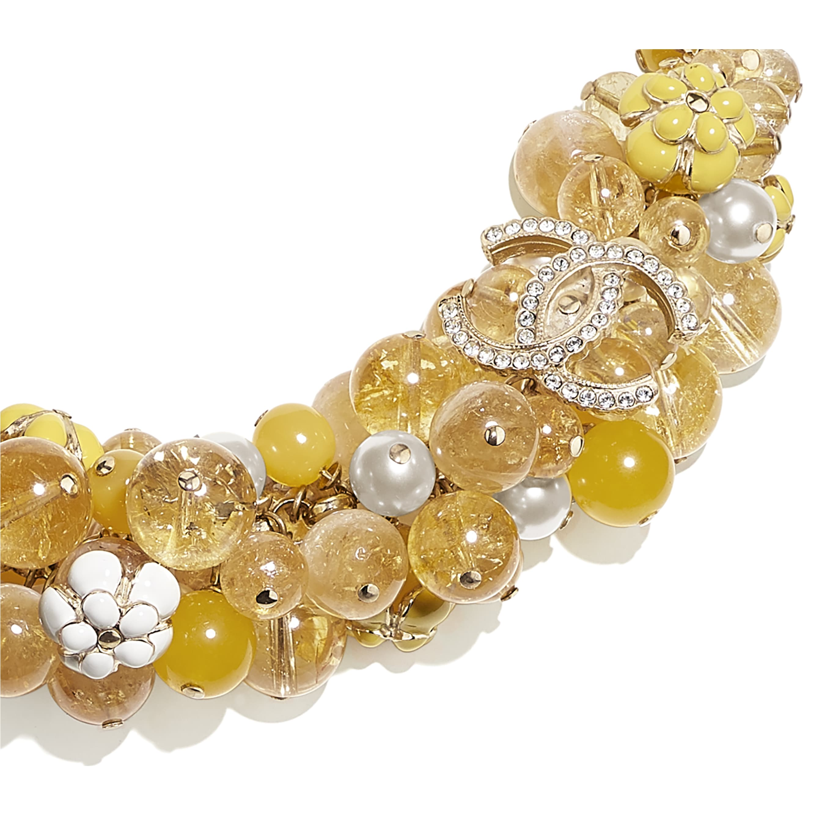 Necklace - Gold, Pearly White, Crystal & Yellow - Metal, Natural Stones, Glass Pearls, Strass & Resin - CHANEL - Other view - see standard sized version