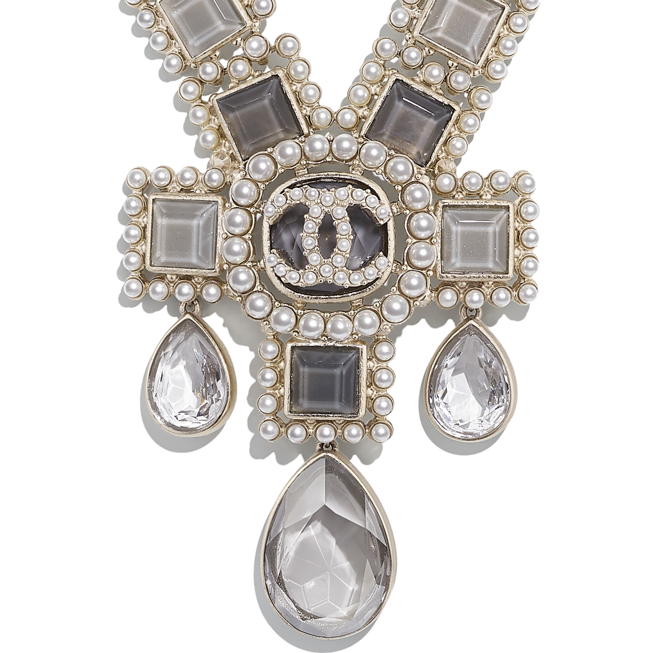 Necklace - Gold, Pearly White, Grey & Crystal - Metal, Glass Pearls, Glass & Strass - CHANEL - Other view - see standard sized version