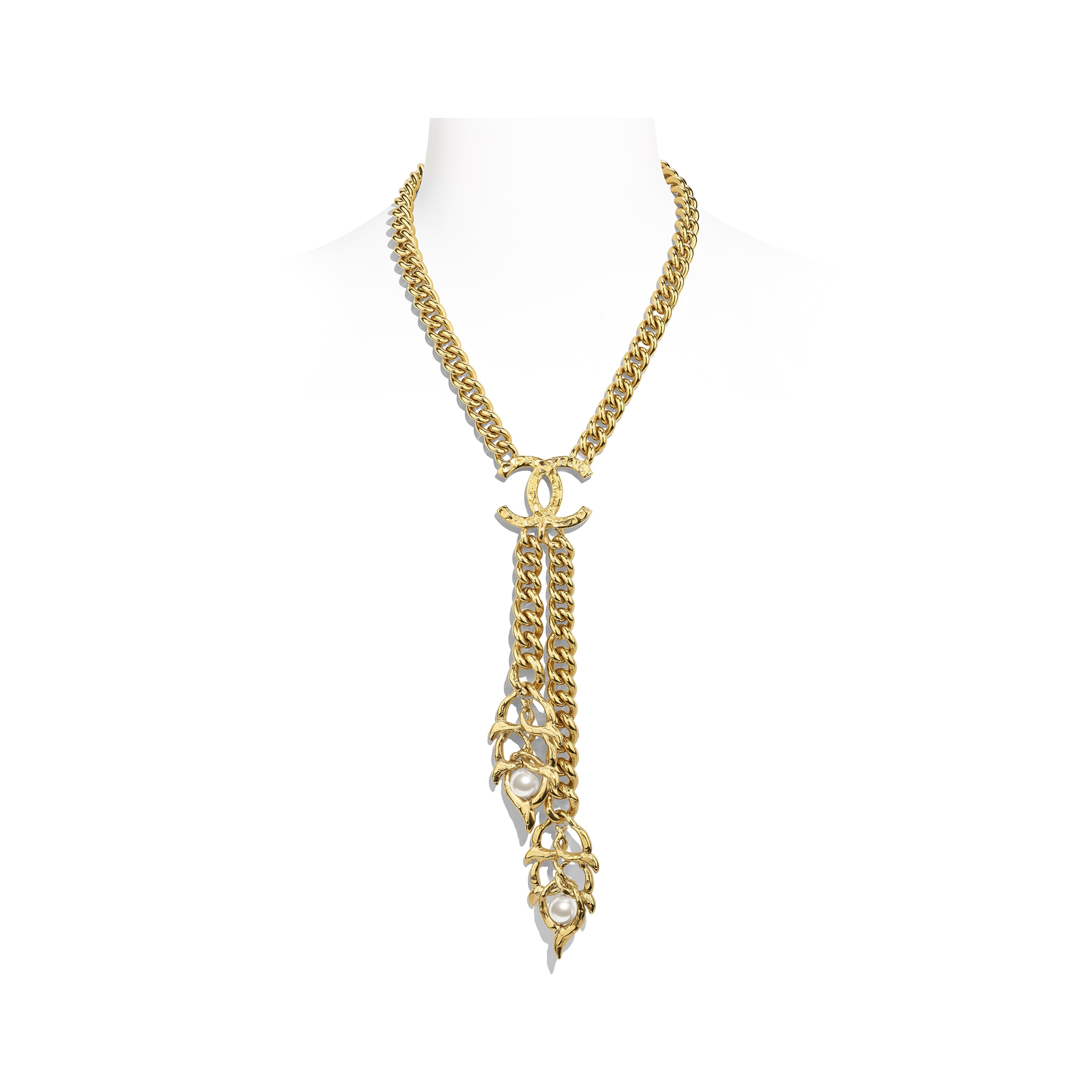 Necklace - Gold & Pearly White - Metal & Glass Pearls - Default view - see standard sized version