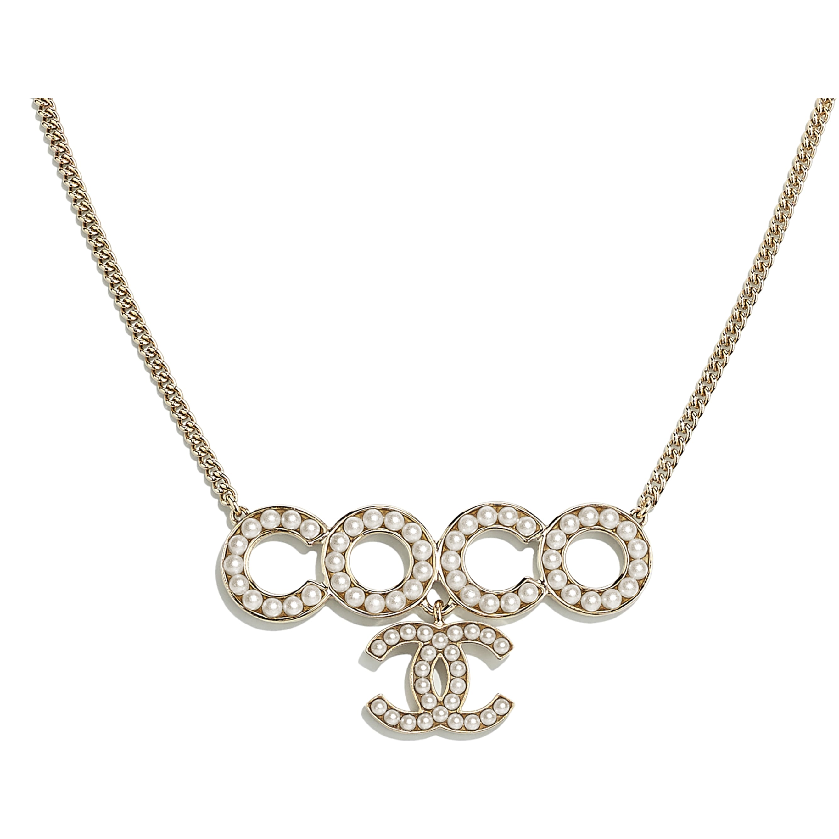 Necklace - Gold & Pearly White - Metal & Glass Pearls - CHANEL - Other view - see standard sized version