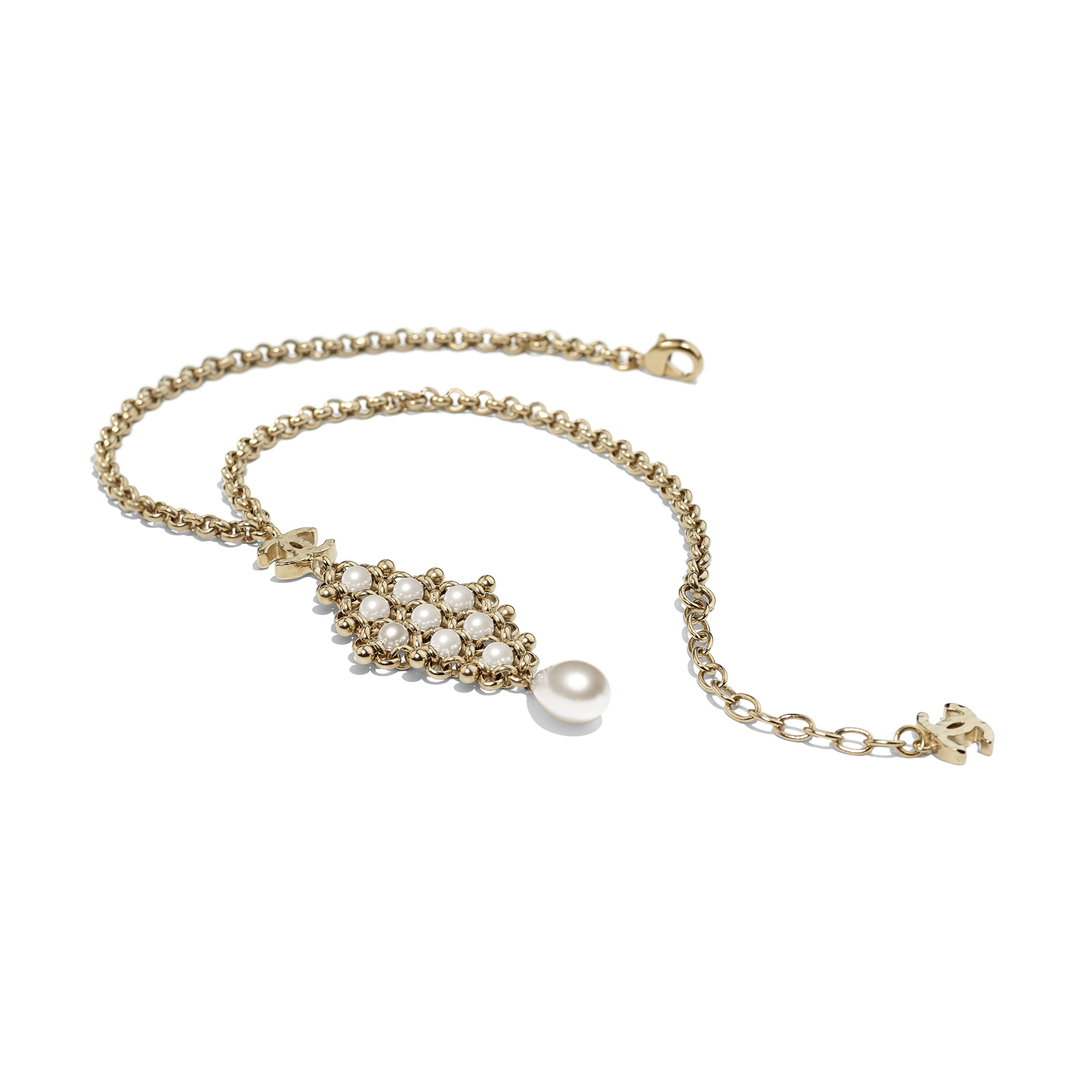 Necklace - Gold & Pearly White - Metal & Imitation Pearls - CHANEL - Alternative view - see standard sized version