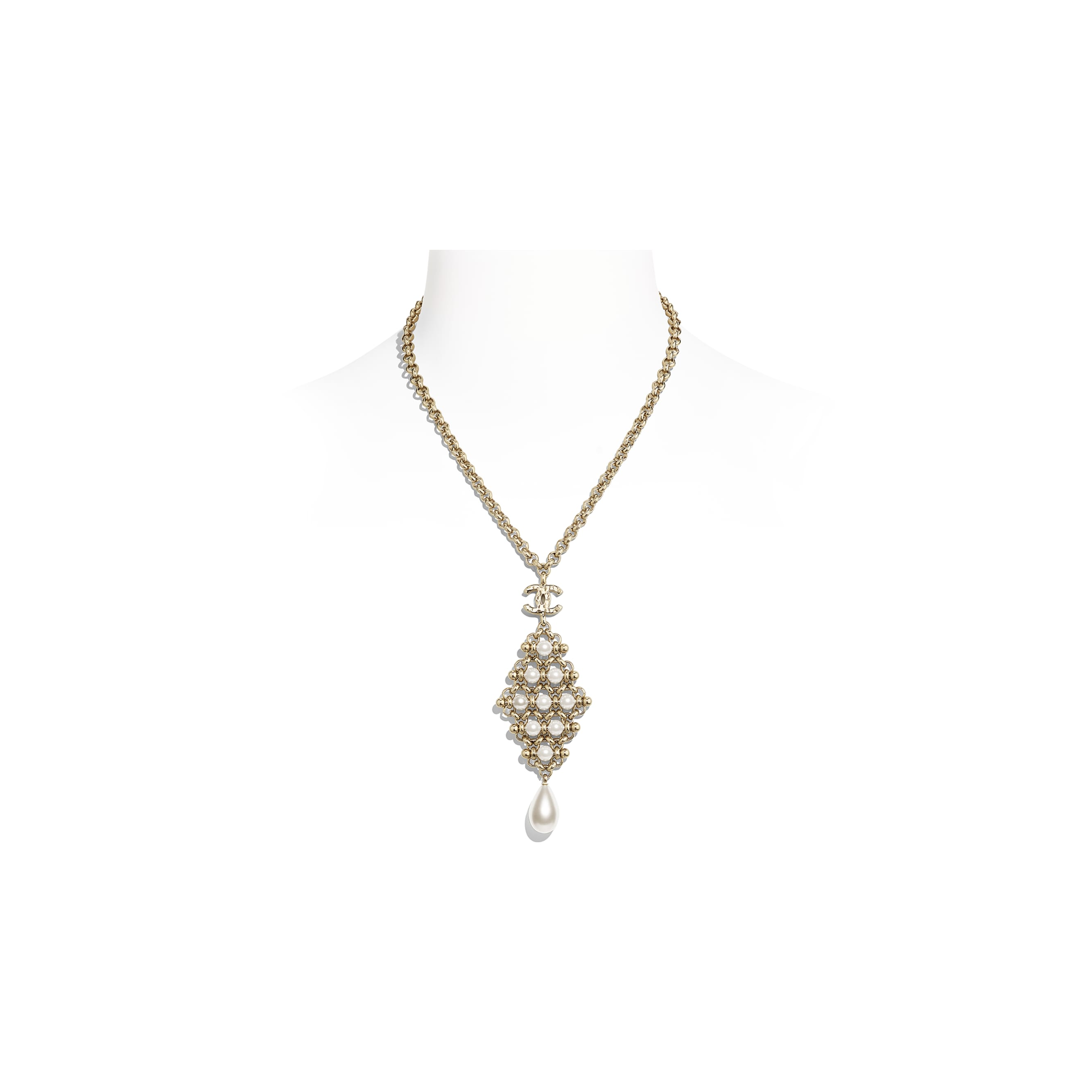 Necklace - Gold & Pearly White - Metal & Imitation Pearls - CHANEL - Default view - see standard sized version