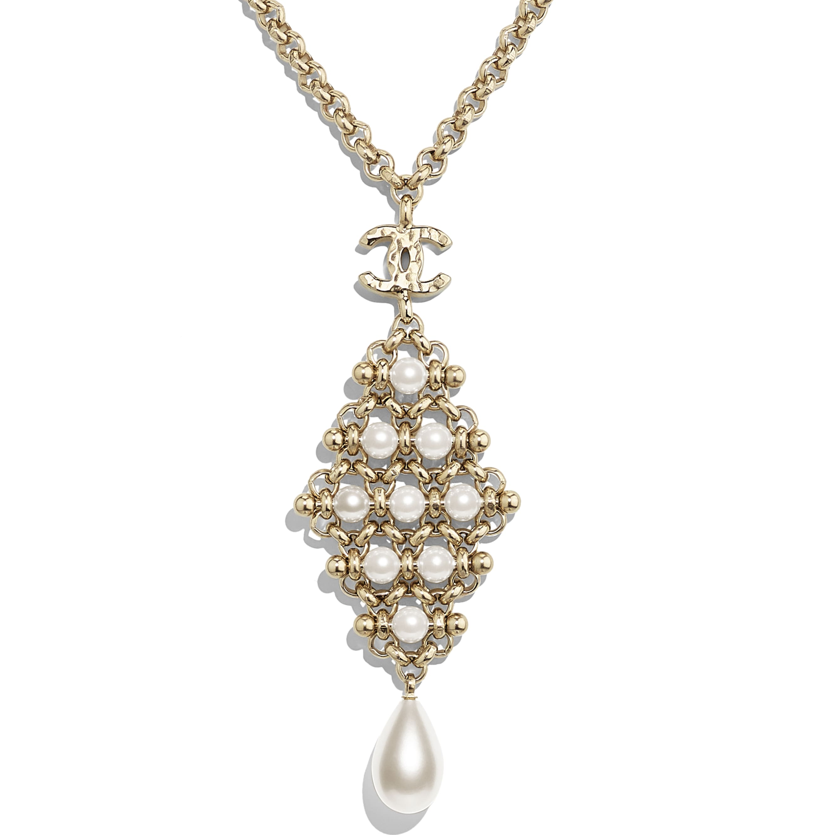 Necklace - Gold & Pearly White - Metal & Imitation Pearls - CHANEL - Other view - see standard sized version