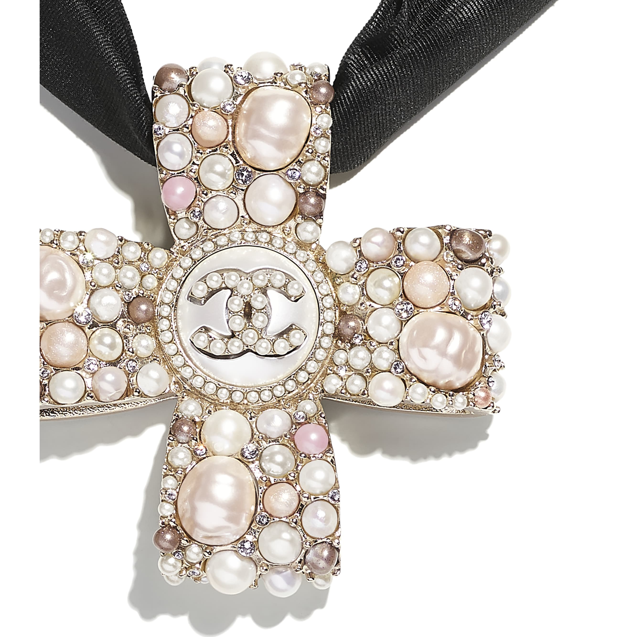 Colar - Gold, Pearly White, Pink, Crystal & Black - Metal, Cultured Freshwater Pearls, Glass Pearls, Imitation Pearls, Strass & Silk - CHANEL - Outra vista - ver a versão em tamanho standard