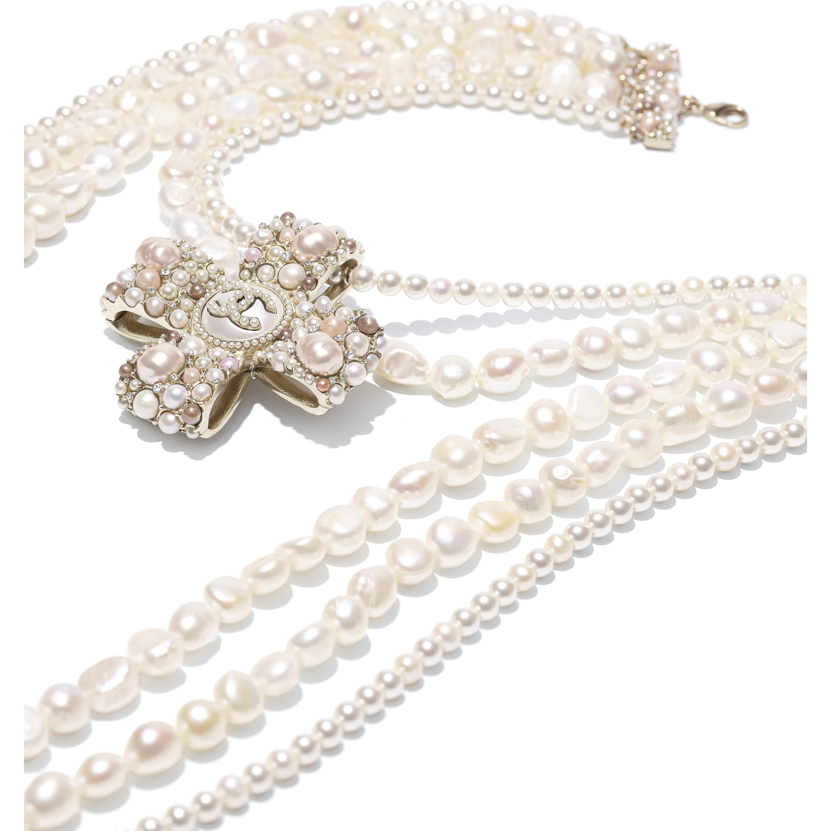 Necklace - Gold, Pearly White, Pink & Crystal - Metal, Cultured Fresh Water Pearls, Glass Pearls, Imitation Pearls & Diamanté - CHANEL - Alternative view - see standard sized version