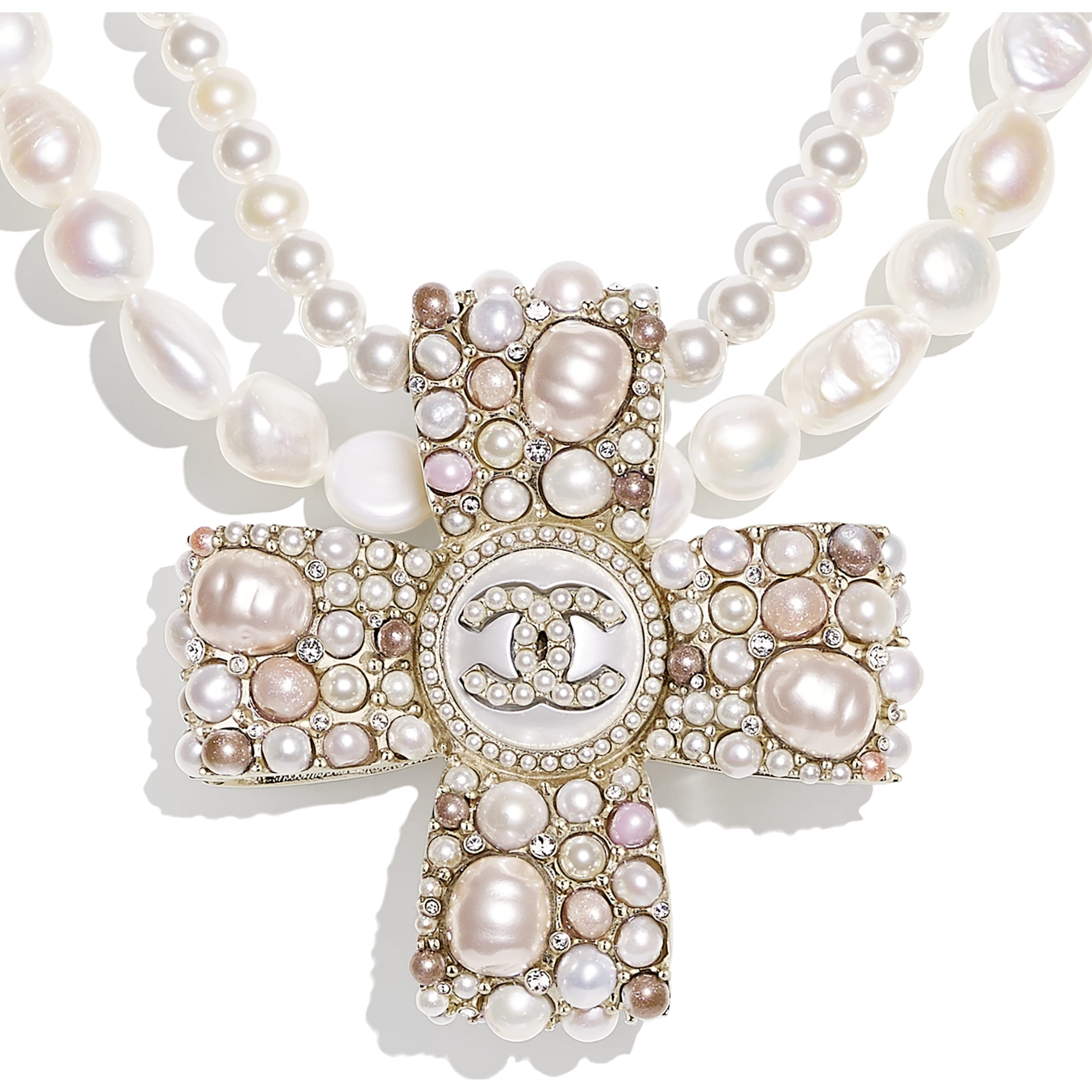 Necklace - Gold, Pearly White, Pink & Crystal - Metal, Cultured Fresh Water Pearls, Glass Pearls, Imitation Pearls & Diamanté - CHANEL - Other view - see standard sized version