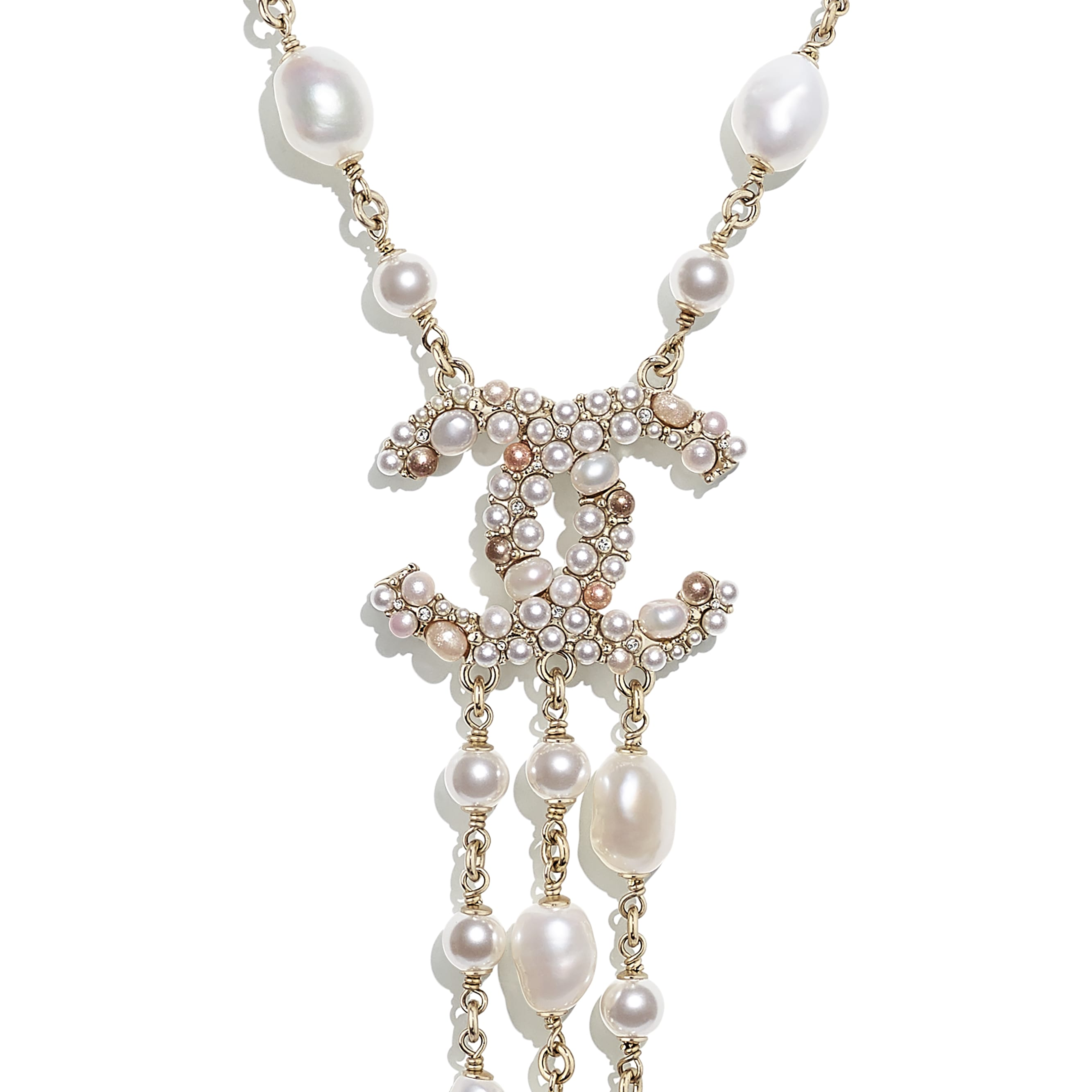 Necklace - Gold, Pearly White, Pink & Crystal - Metal, Cultured Freshwater Pearls, Glass Pearls & Strass - CHANEL - Other view - see standard sized version