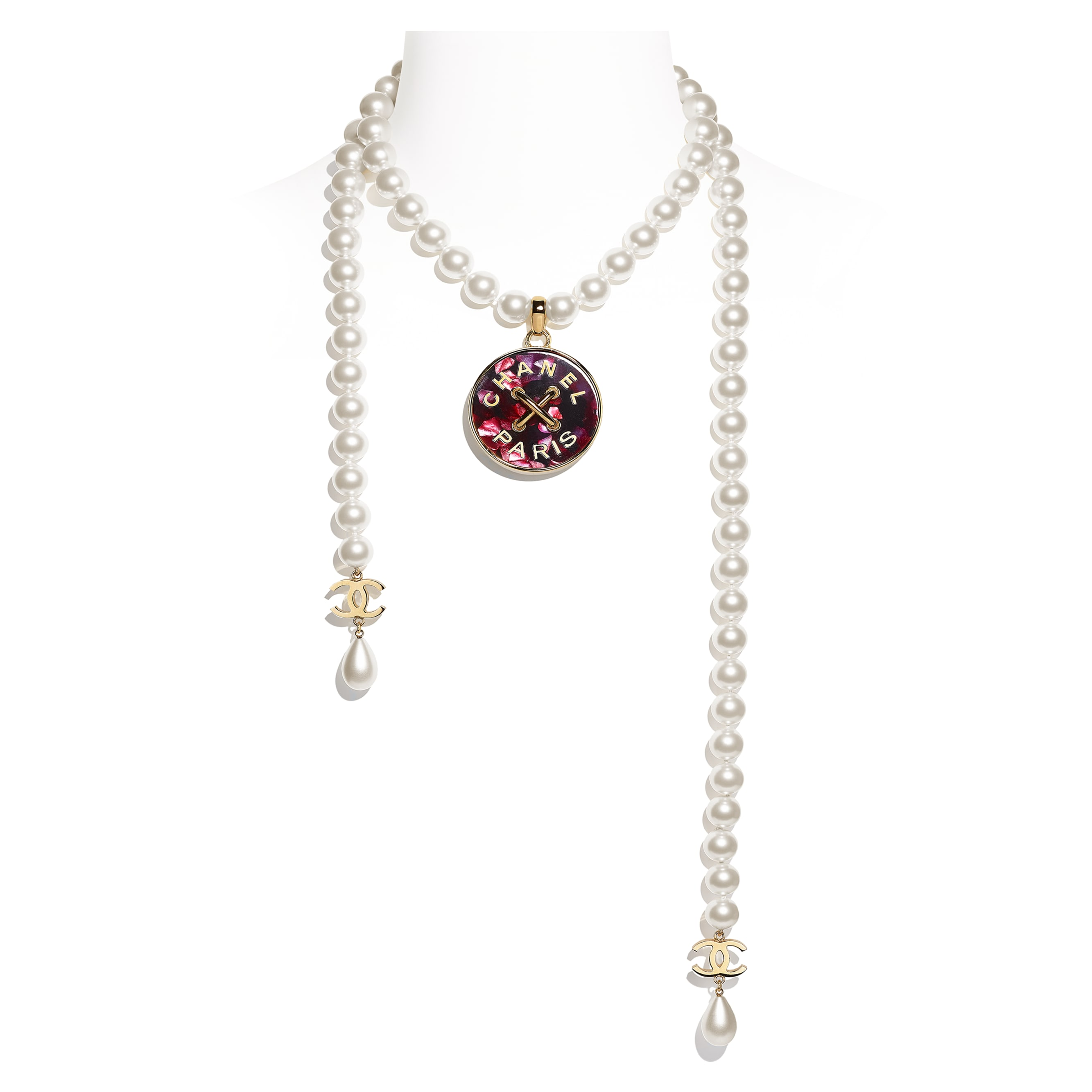 Necklace - Gold, Pearly White & Pink - Metal, Glass Pearls & Resin - CHANEL - Default view - see standard sized version