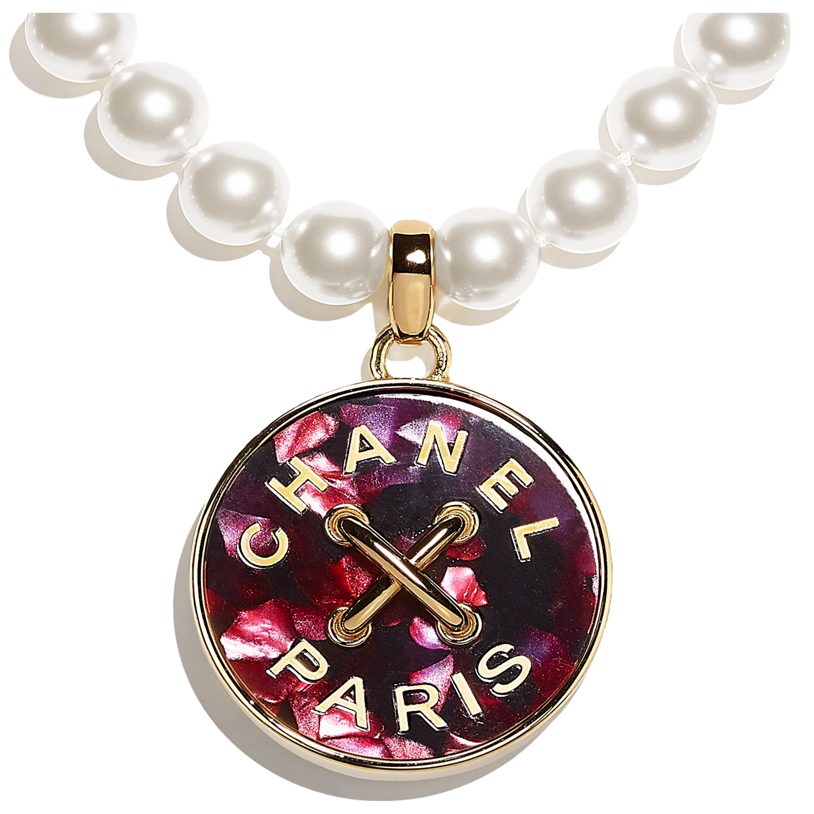 Necklace - Gold, Pearly White & Pink - Metal, Glass Pearls & Resin - CHANEL - Other view - see standard sized version