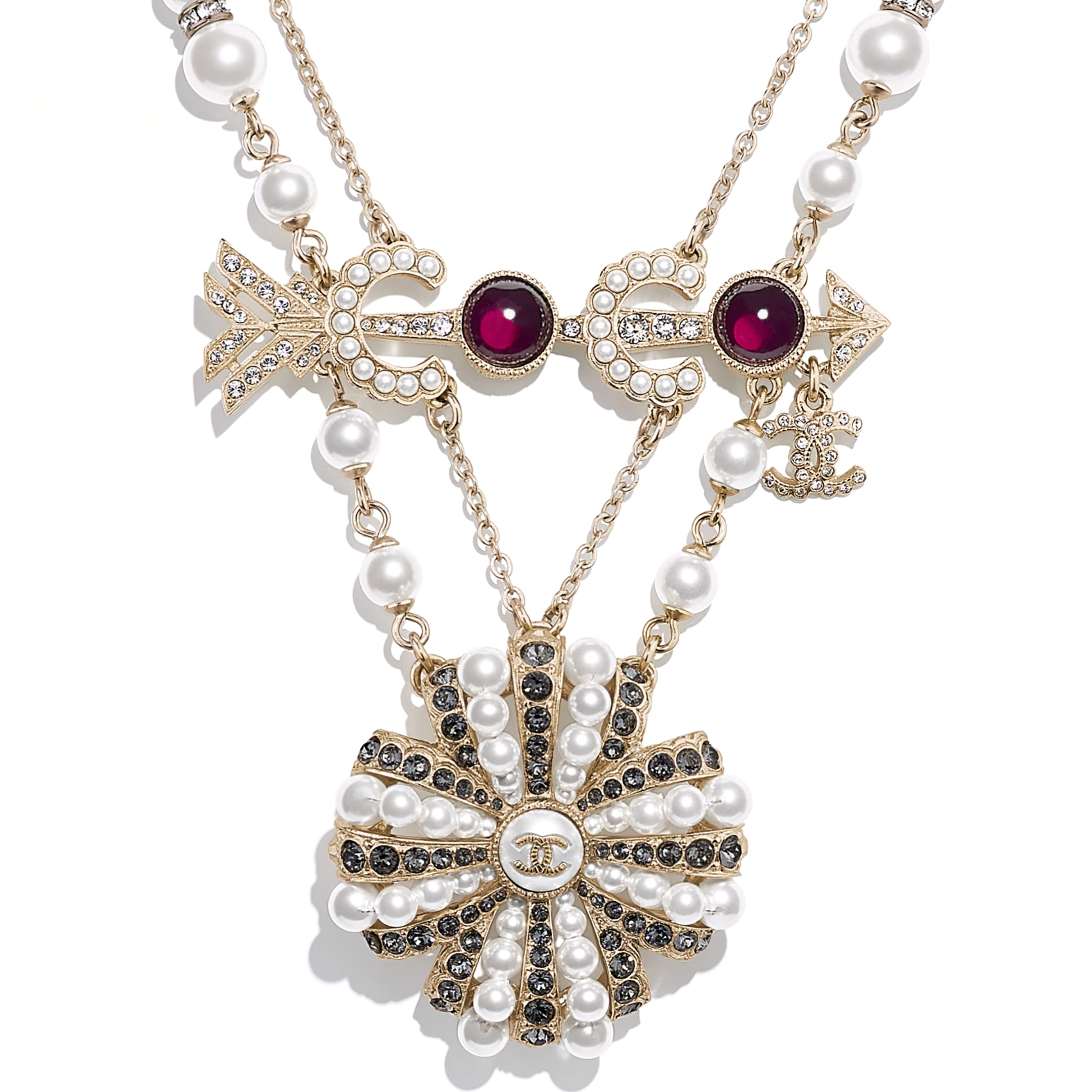Necklace - Gold, Pearly White, Red, Gray & Crystal - Metal, Glass Pearls, Imitation Pearls & Diamanté - CHANEL - Other view - see standard sized version