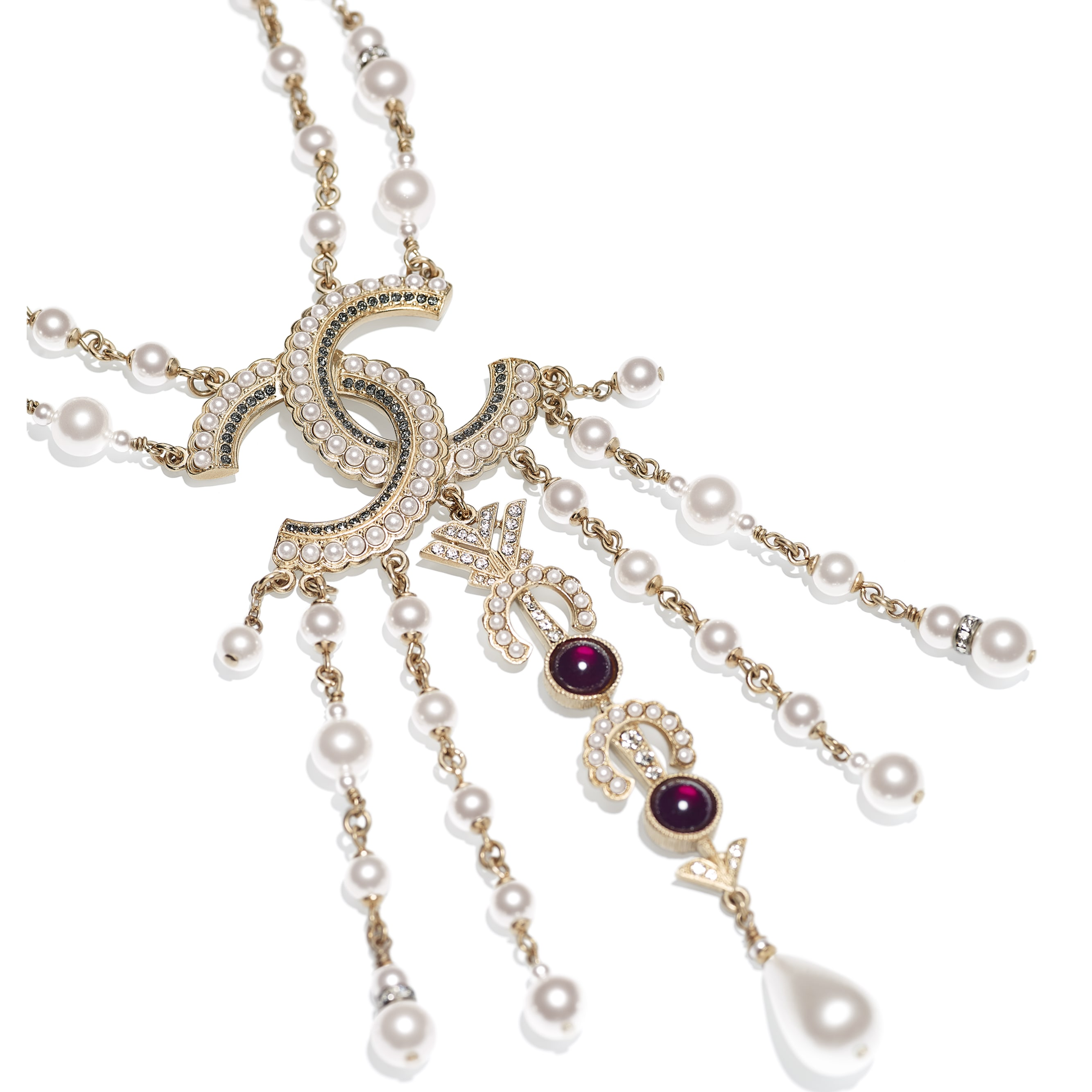 Necklace - Gold, Pearly White, Red, Gray & Crystal - Metal, Glass Pearls & Diamantés - Alternative view - see standard sized version