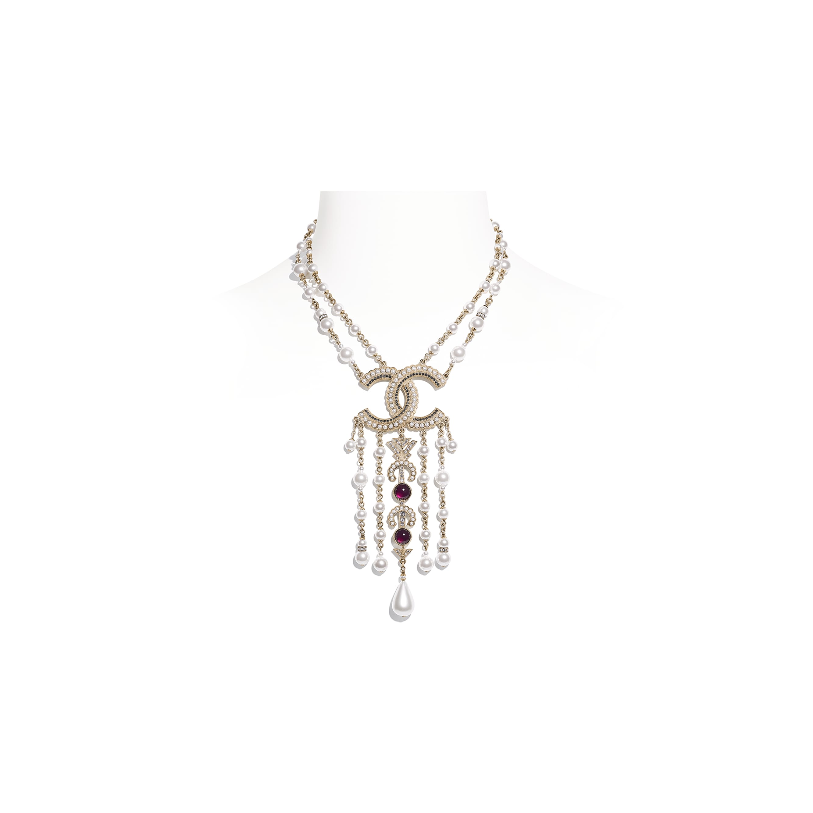 Necklace - Gold, Pearly White, Red, Gray & Crystal - Metal, Glass Pearls & Diamantés - Default view - see standard sized version