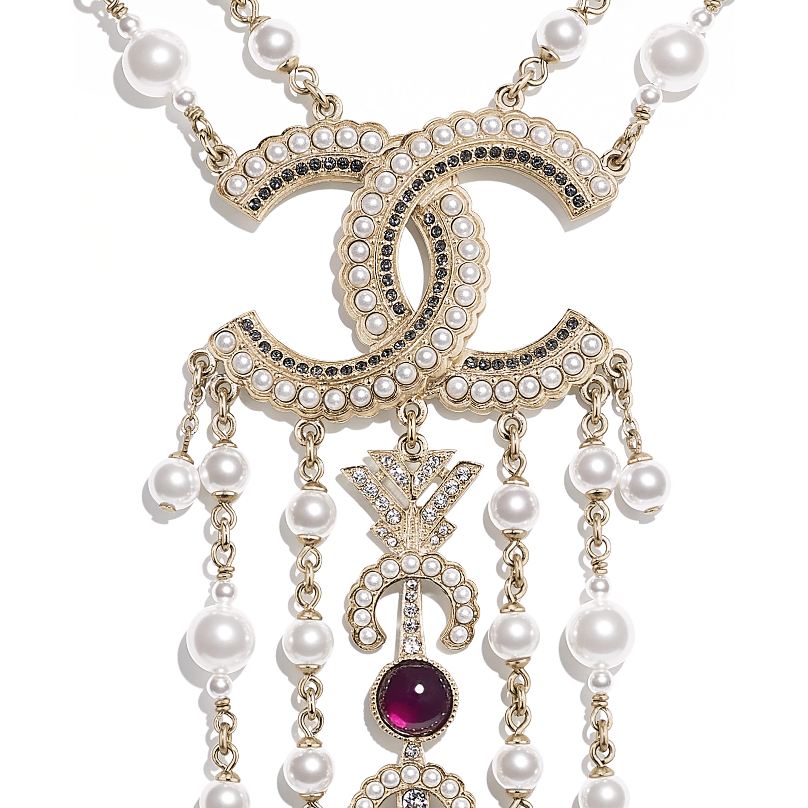 Necklace - Gold, Pearly White, Red, Gray & Crystal - Metal, Glass Pearls & Diamantés - Other view - see standard sized version
