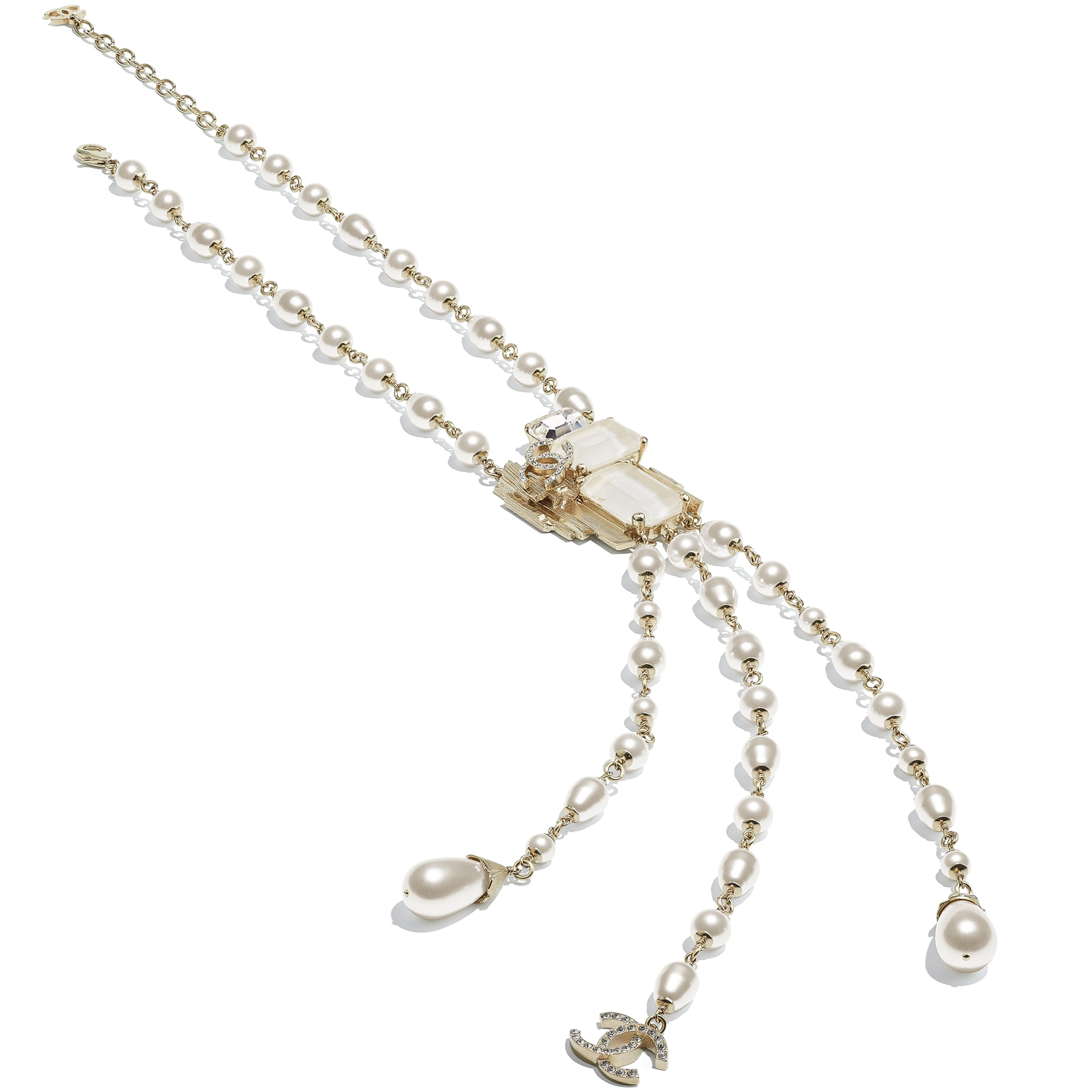 Necklace - Gold, Pearly White, White & Crystal - Metal, Glass Pearls, Imitation Pearls & Diamanté - CHANEL - Alternative view - see standard sized version