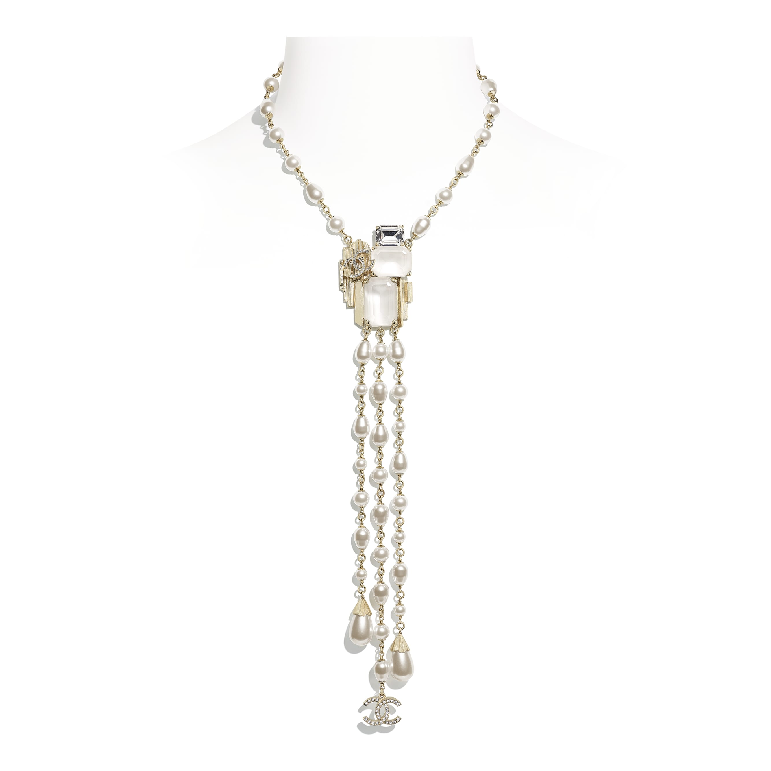 Necklace - Gold, Pearly White, White & Crystal - Metal, Glass Pearls, Imitation Pearls & Diamanté - CHANEL - Default view - see standard sized version