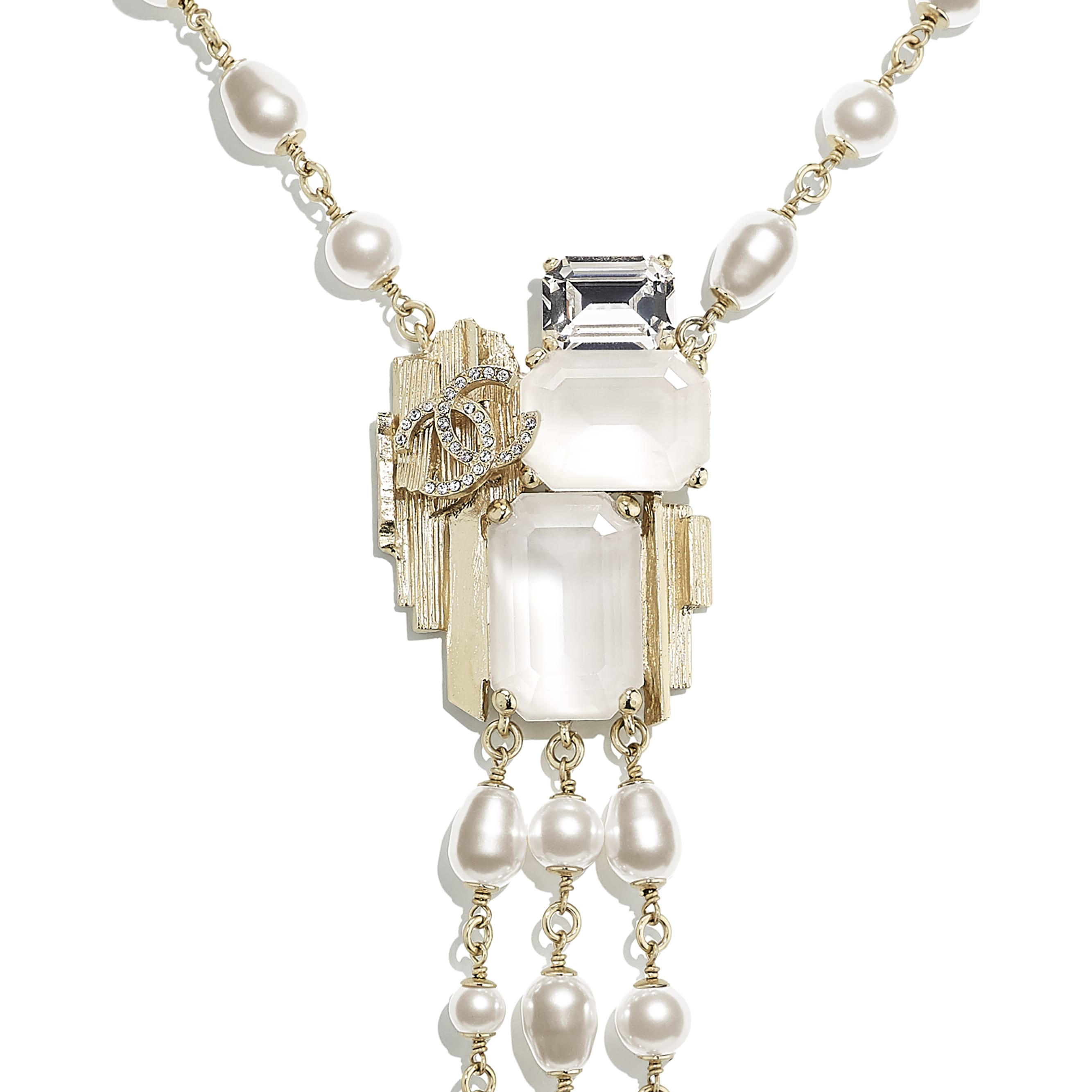 Necklace - Gold, Pearly White, White & Crystal - Metal, Glass Pearls, Imitation Pearls & Diamanté - CHANEL - Other view - see standard sized version