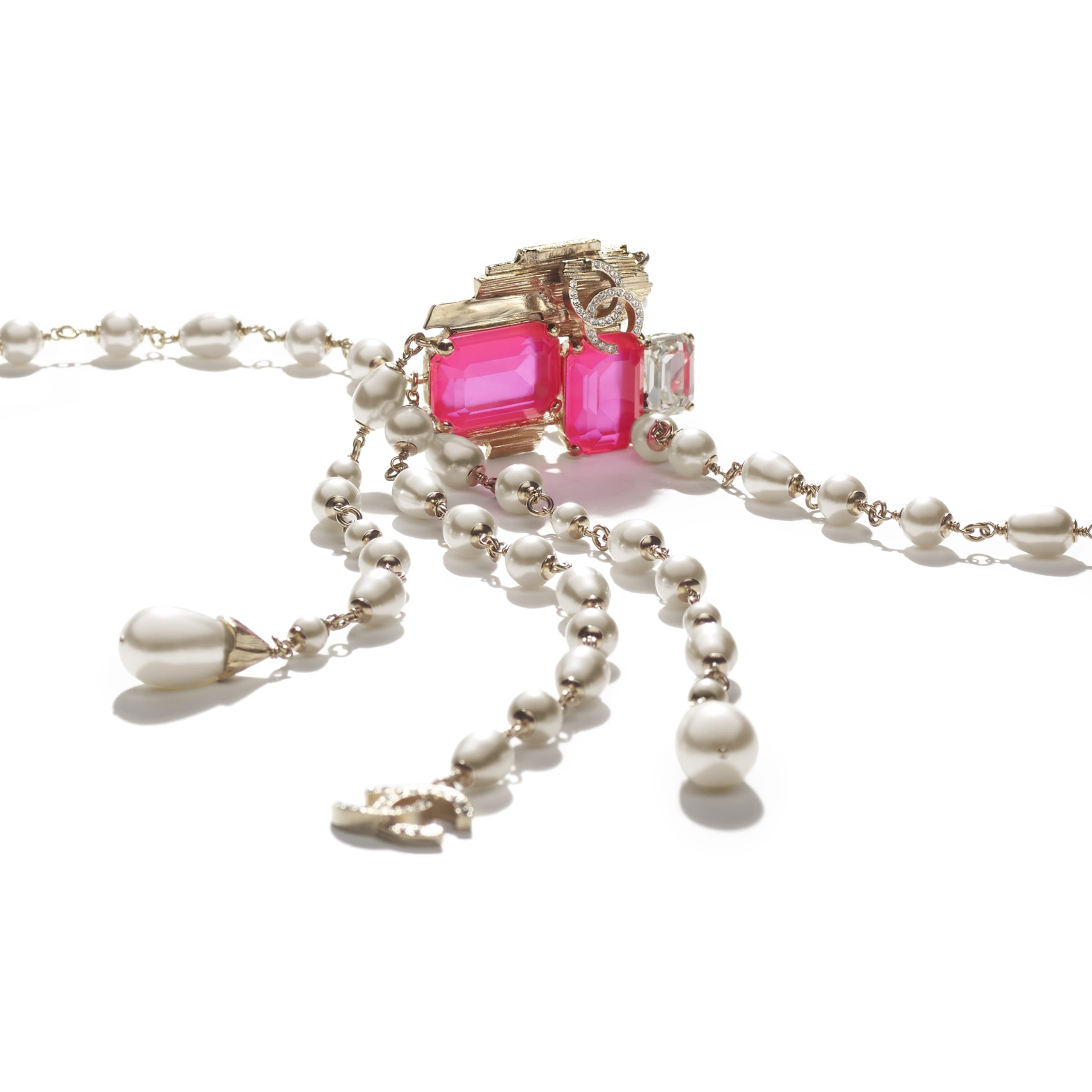 Necklace - Gold, Pink & Pearly White - Metal, Glass Pearls, Imitation Pearls & Diamanté - CHANEL - Alternative view - see standard sized version