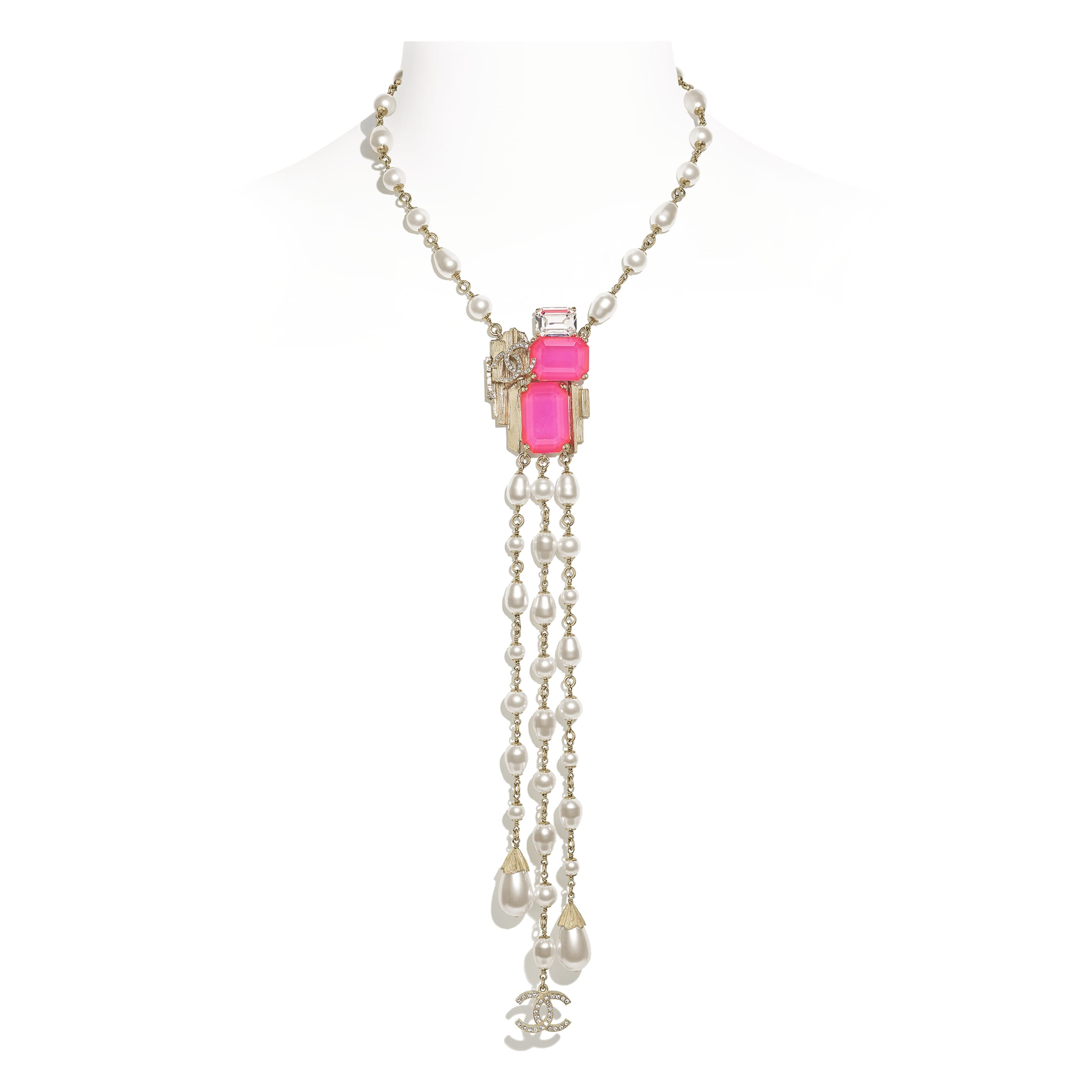 Necklace - Gold, Pink & Pearly White - Metal, Glass Pearls, Imitation Pearls & Diamanté - CHANEL - Default view - see standard sized version