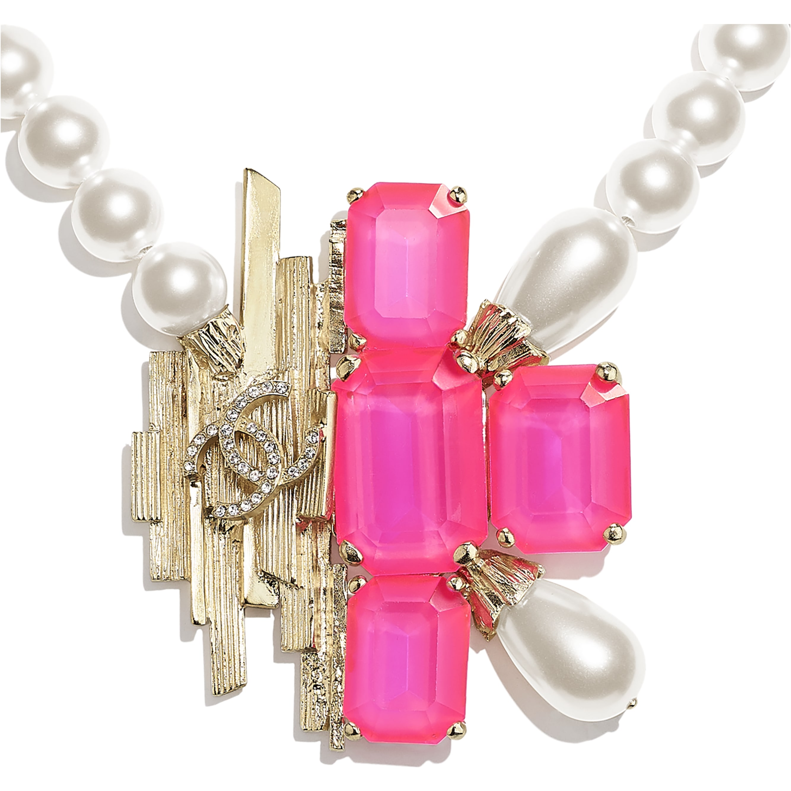 Necklace - Gold, Pink & Pearly White - Metal, Glass Pearls, Imitation Pearls & Diamanté - CHANEL - Other view - see standard sized version