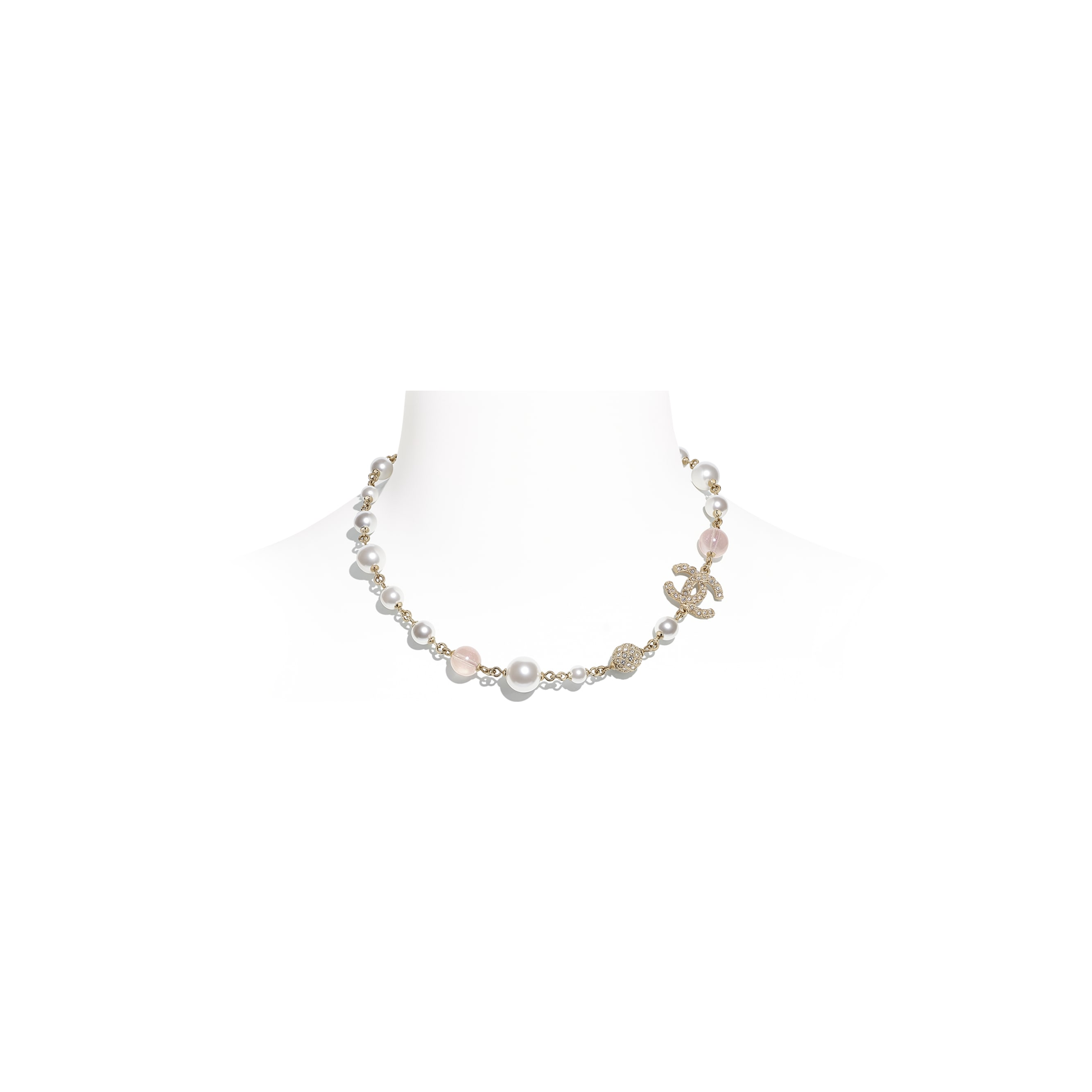 Necklace - Gold, Pink & Pearly White - Metal, Glass Pearls & Diamantés - CHANEL - Default view - see standard sized version