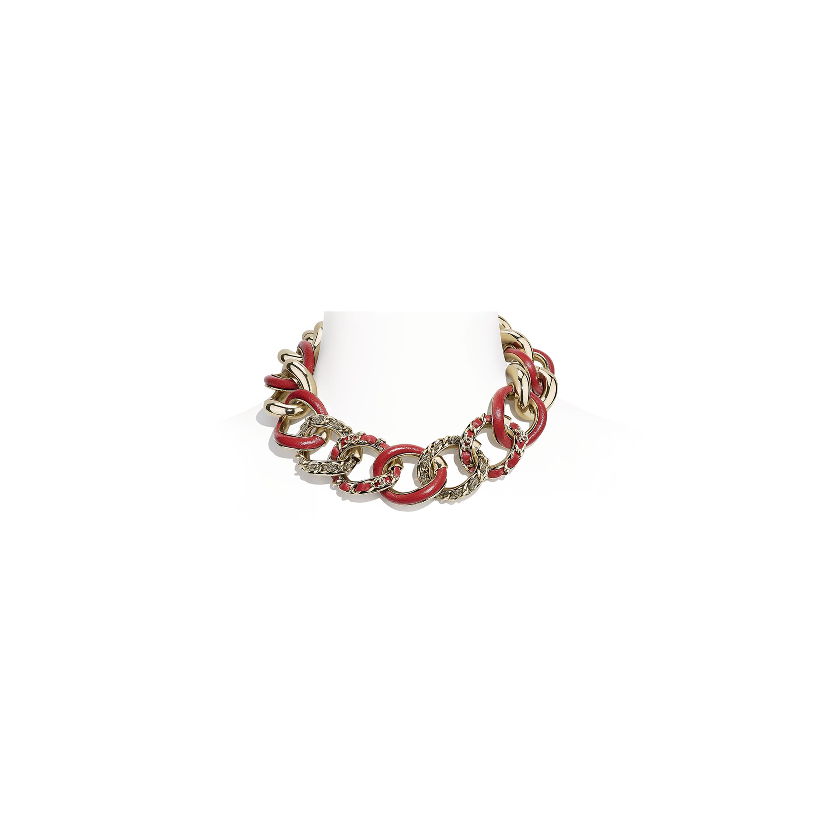 Necklace - Gold & Red - Metal & Calfskin - CHANEL - Default view - see standard sized version