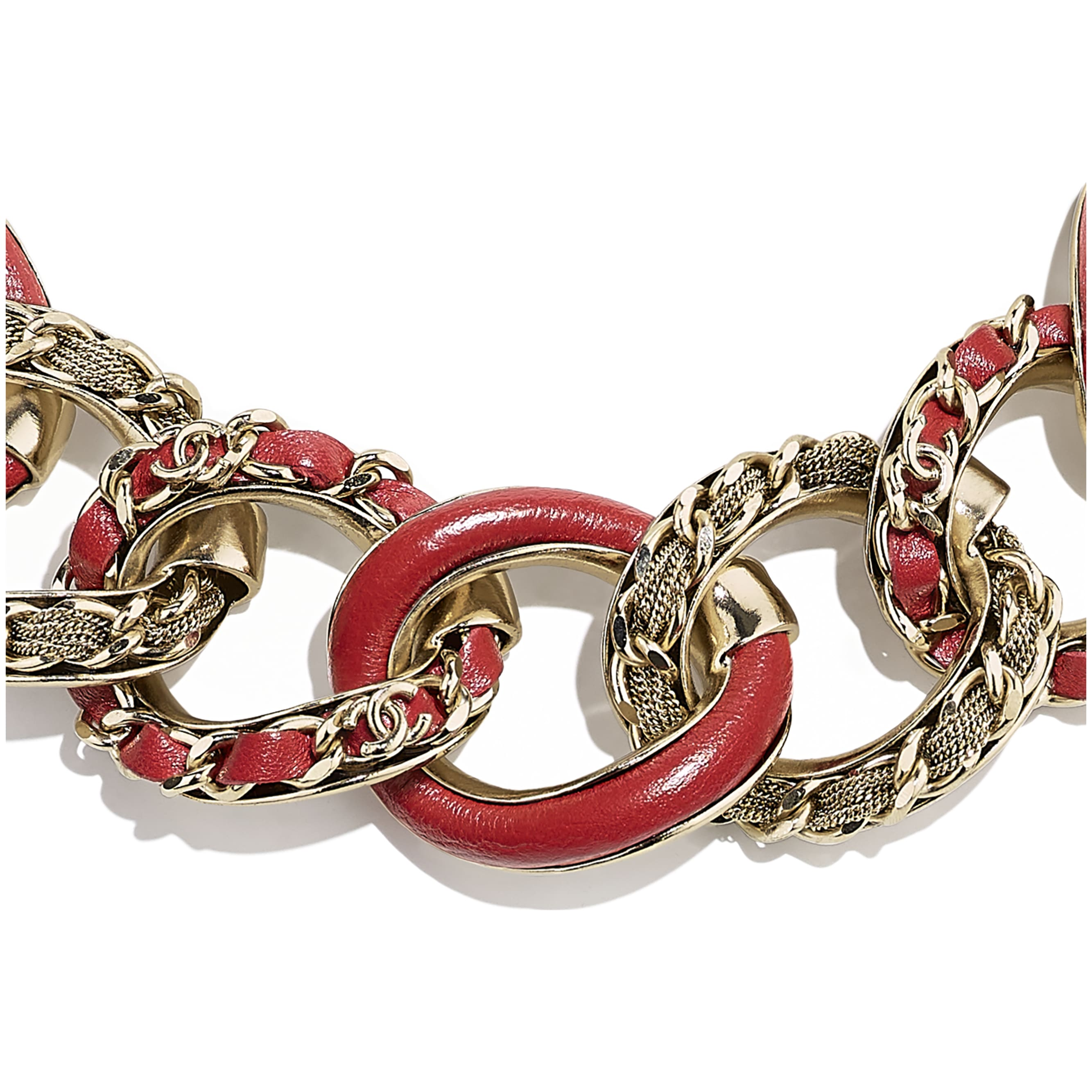 Necklace - Gold & Red - Metal & Calfskin - CHANEL - Other view - see standard sized version