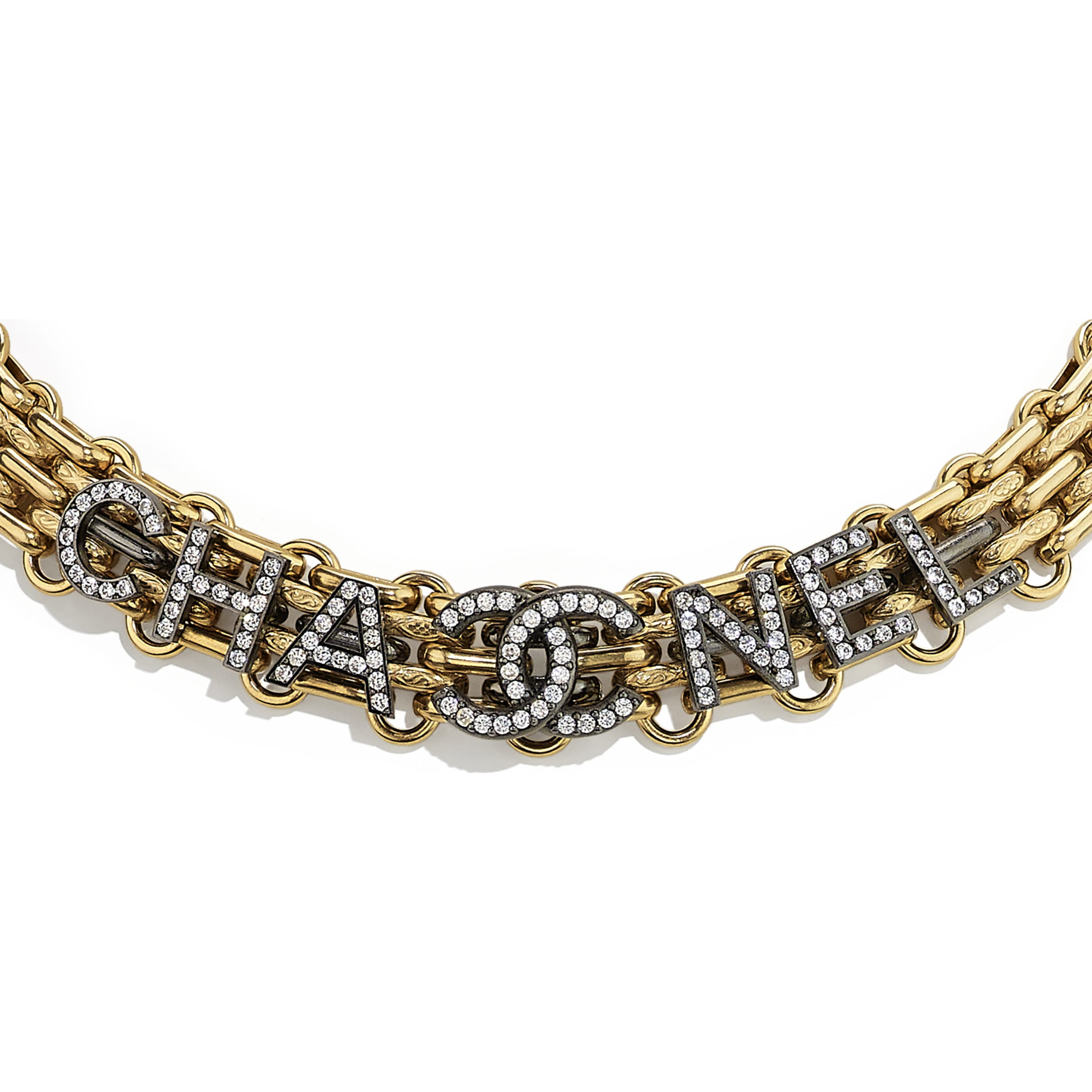 Necklace - Gold, Ruthenium & Crystal - Metal & Strass - CHANEL - Other view - see standard sized version