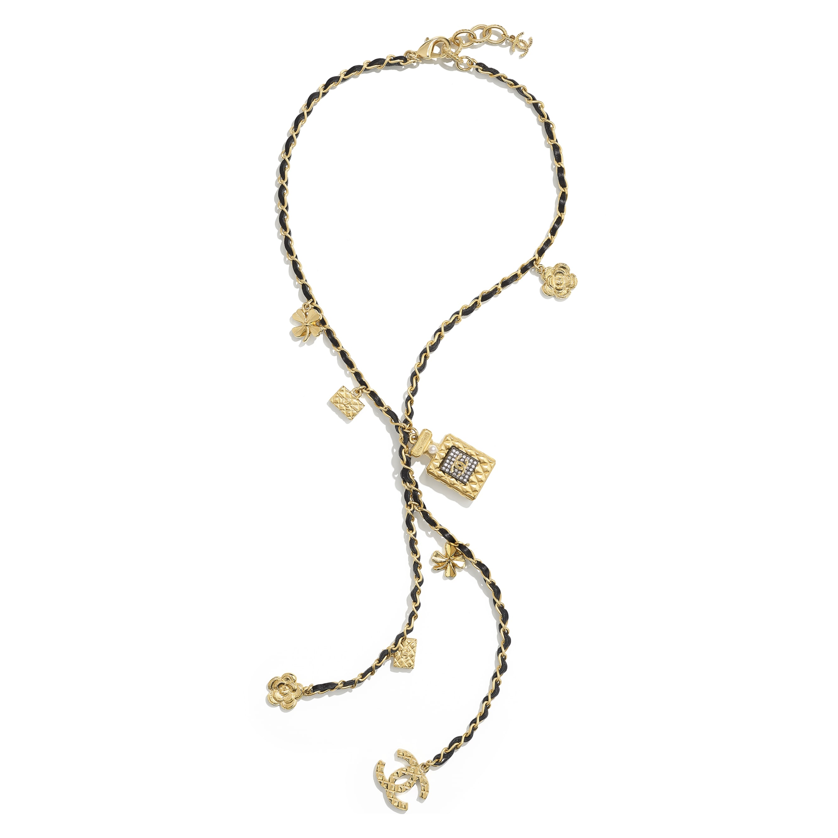 Necklace - Gold, Ruthenium, Pearly White, Black & Crystal - Metal, glass pearls, calfskin & diamanté - CHANEL - Alternative view - see standard sized version