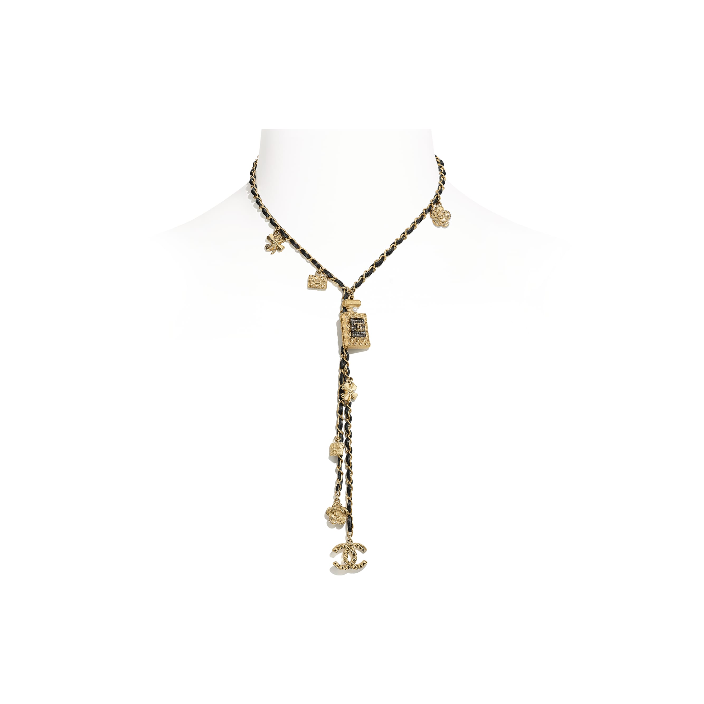 Necklace - Gold, Ruthenium, Pearly White, Black & Crystal - Metal, glass pearls, calfskin & diamanté - CHANEL - Default view - see standard sized version
