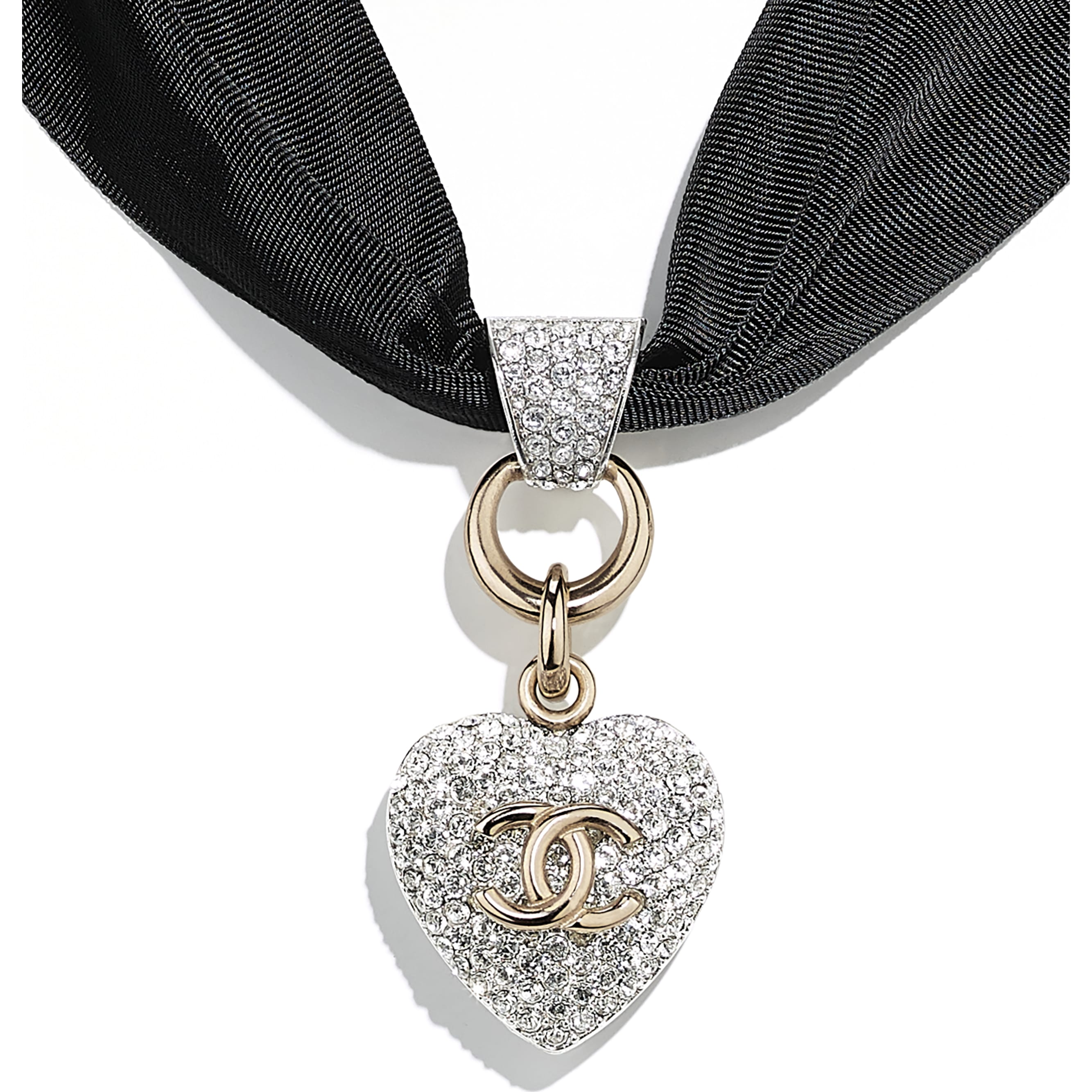 Necklace - Gold, Silver, Crystal & Black - Metal, Diamanté & Fantasy Fabric - CHANEL - Other view - see standard sized version