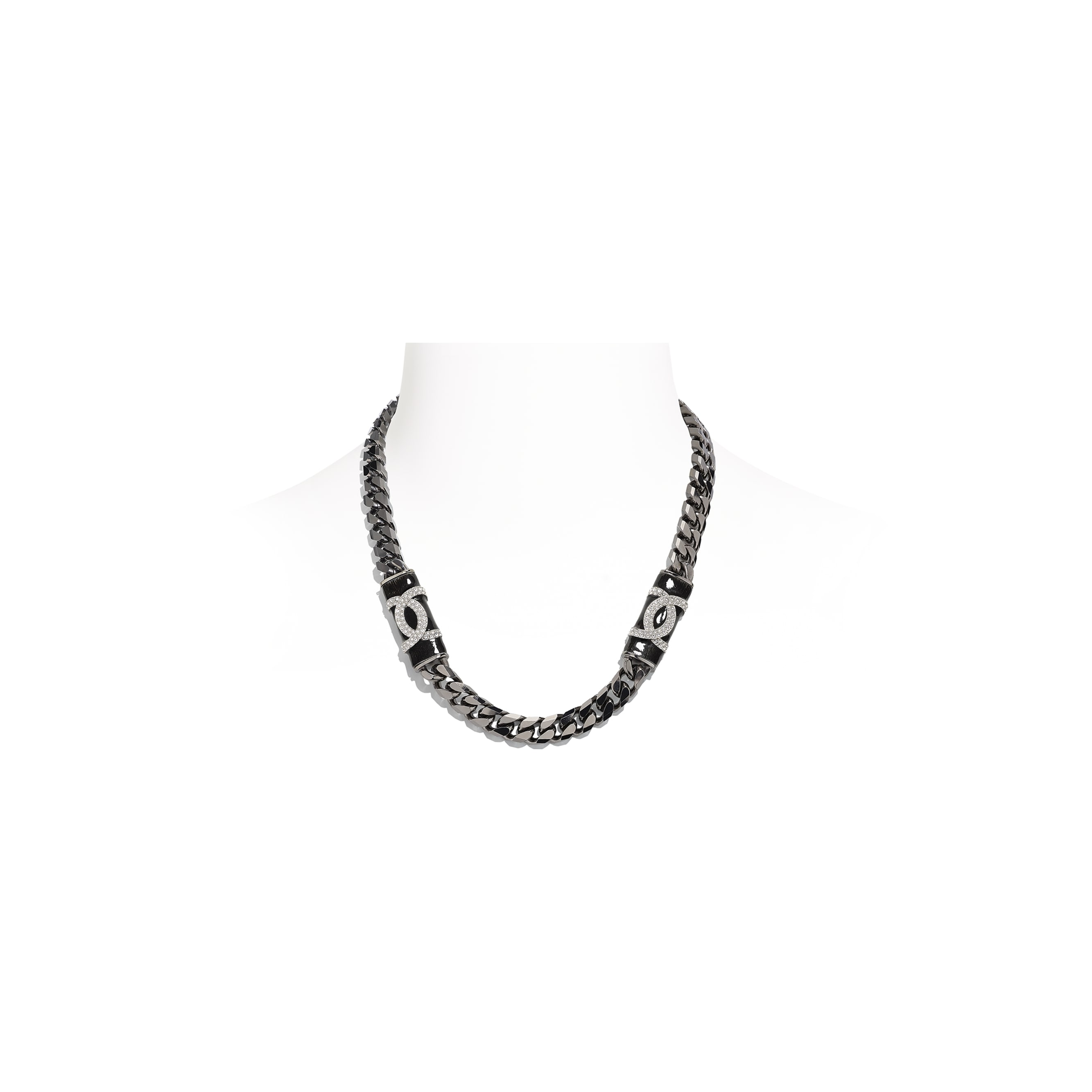 Necklace - Ruthenium, Black & Crystal - Metal & Diamantés - CHANEL - Default view - see standard sized version