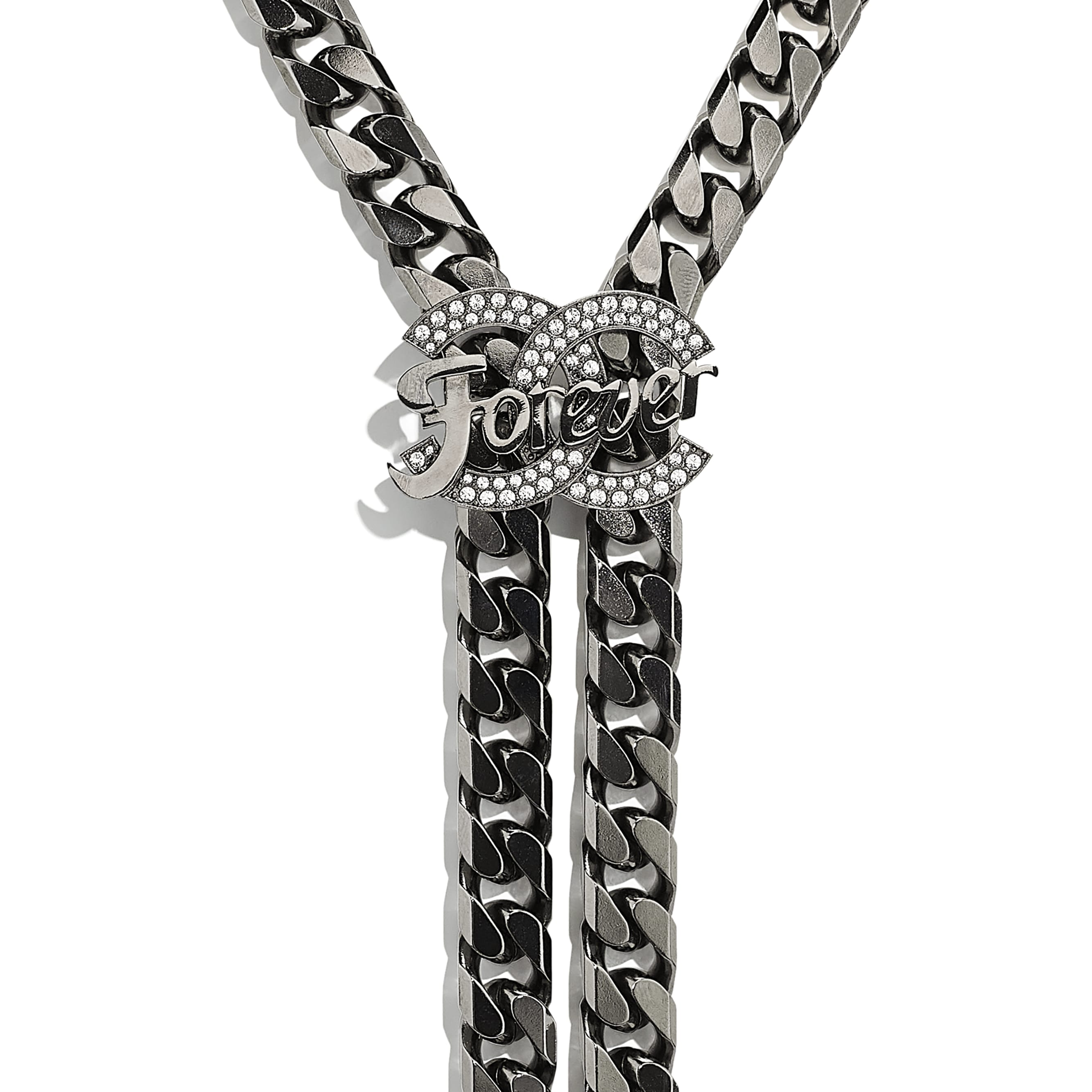 Necklace - Ruthenium, Black & Crystal - Metal & Diamantés - CHANEL - Other view - see standard sized version