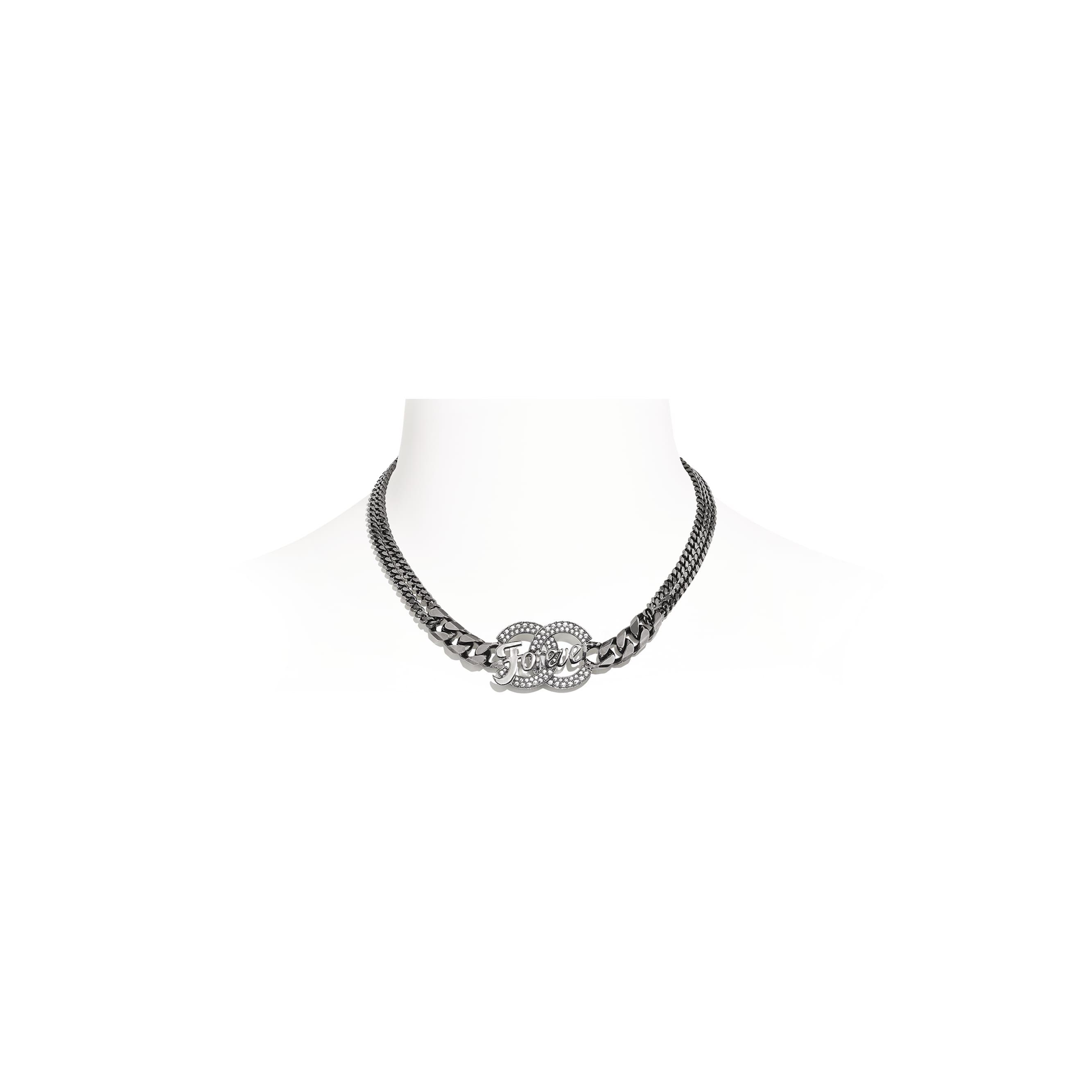 Necklace - Ruthenium & Crystal - Metal & Diamantés - CHANEL - Default view - see standard sized version