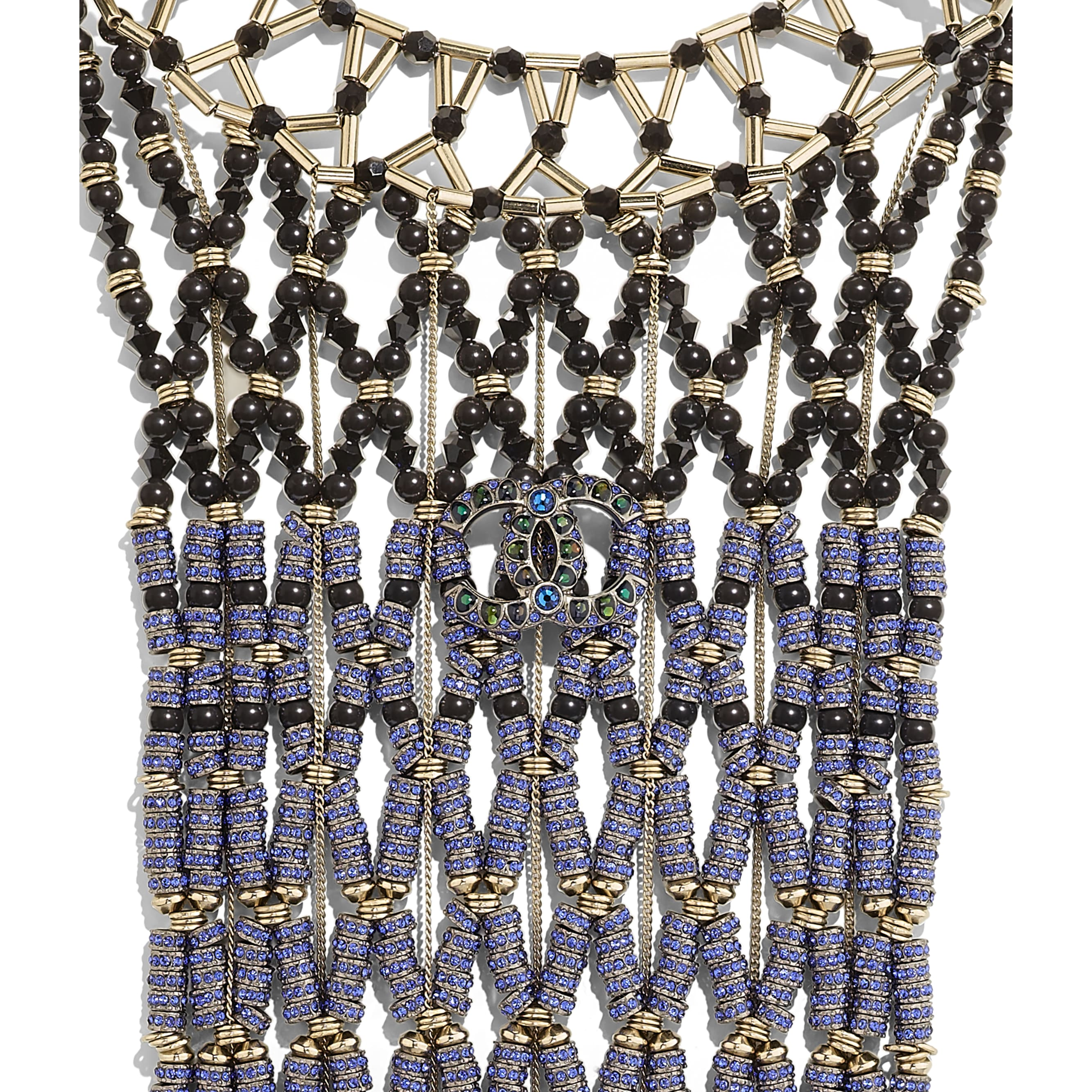 Necklace - Ruthenium, Gold, Black & Blue - Metal, Glass Pearls & Strass - Other view - see standard sized version
