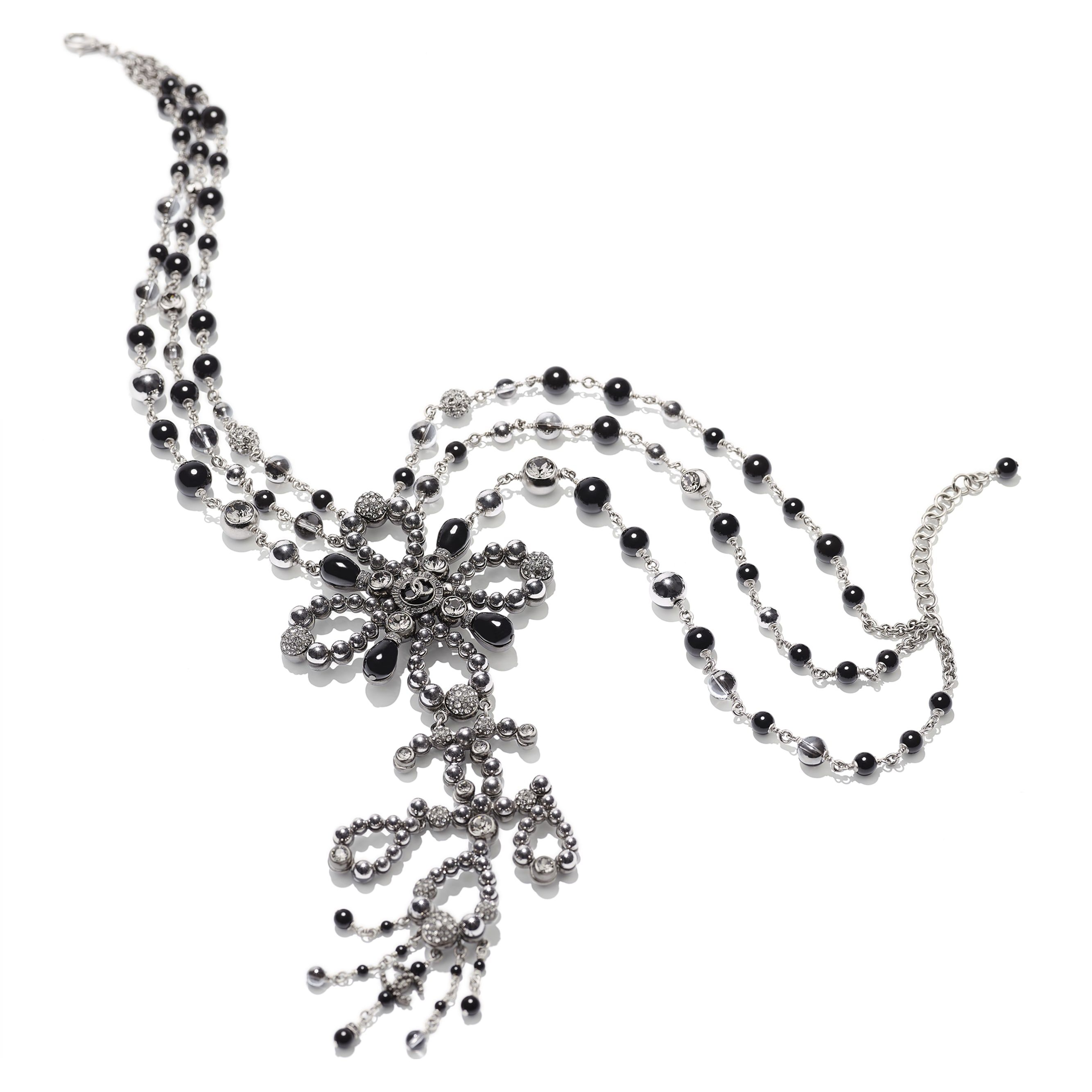 Necklace - Ruthenium, Gray & Black - Metal, Glass Pearls & Diamantés - Alternative view - see standard sized version