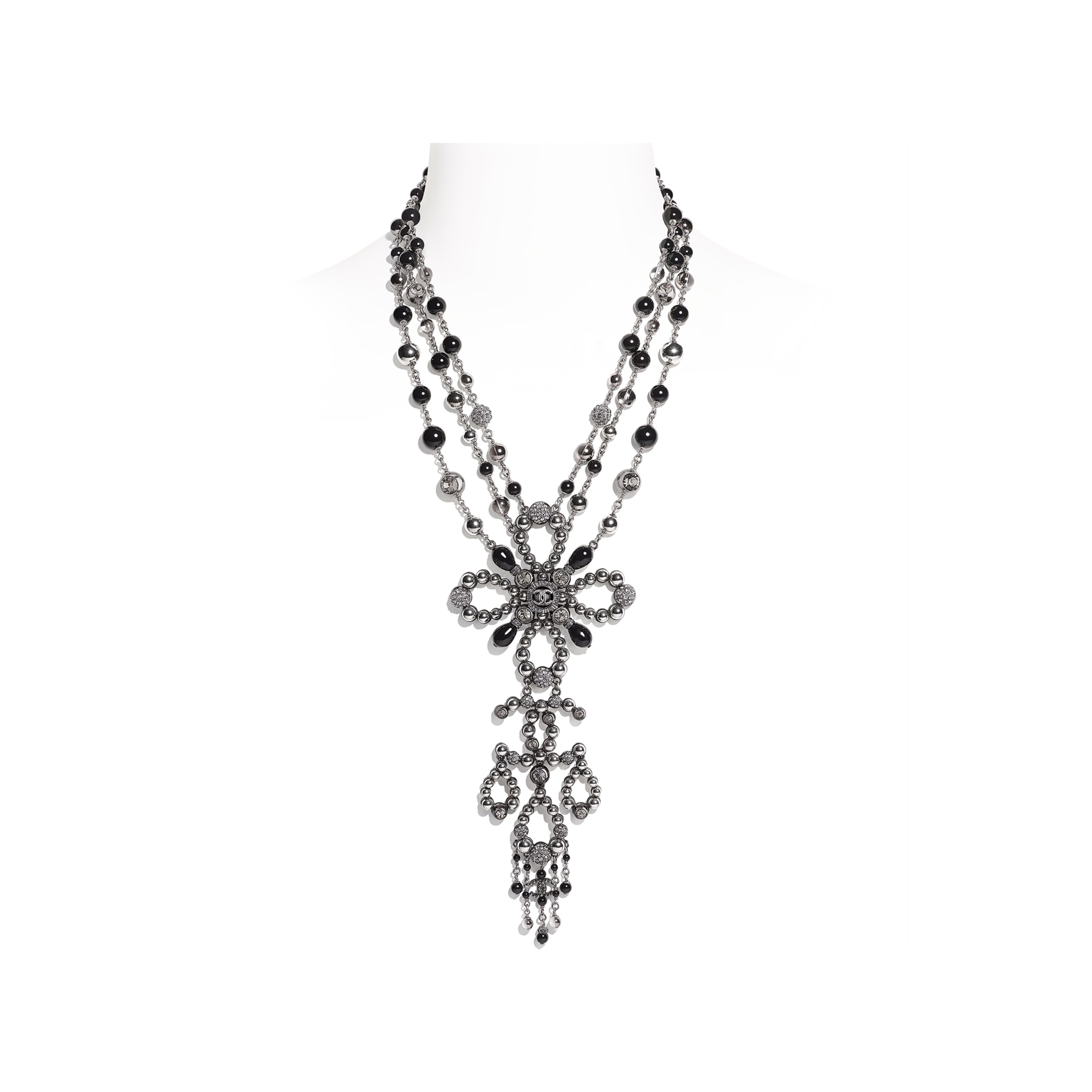 Necklace - Ruthenium, Gray & Black - Metal, Glass Pearls & Diamantés - Default view - see standard sized version