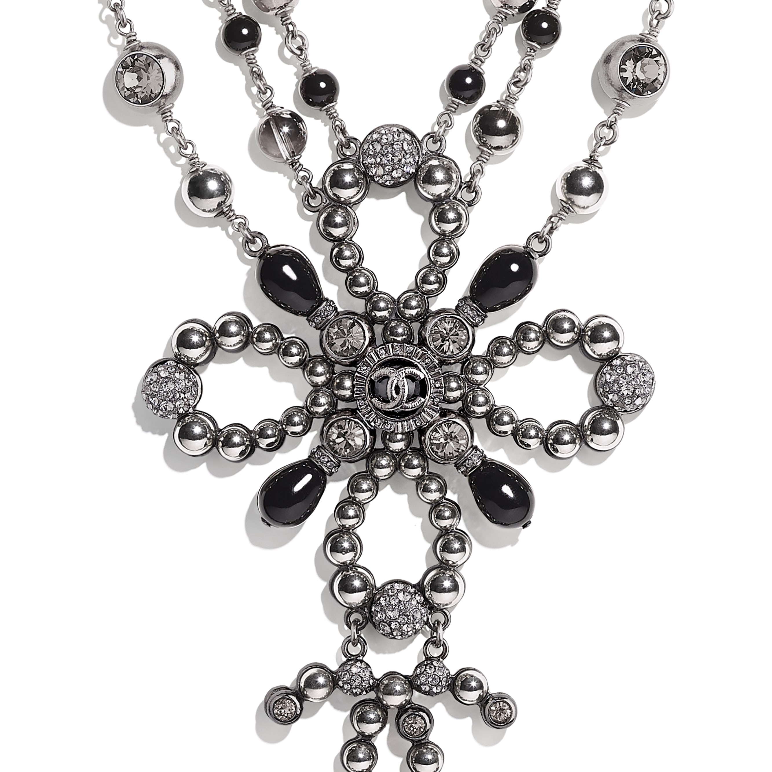Necklace - Ruthenium, Gray & Black - Metal, Glass Pearls & Diamantés - Other view - see standard sized version