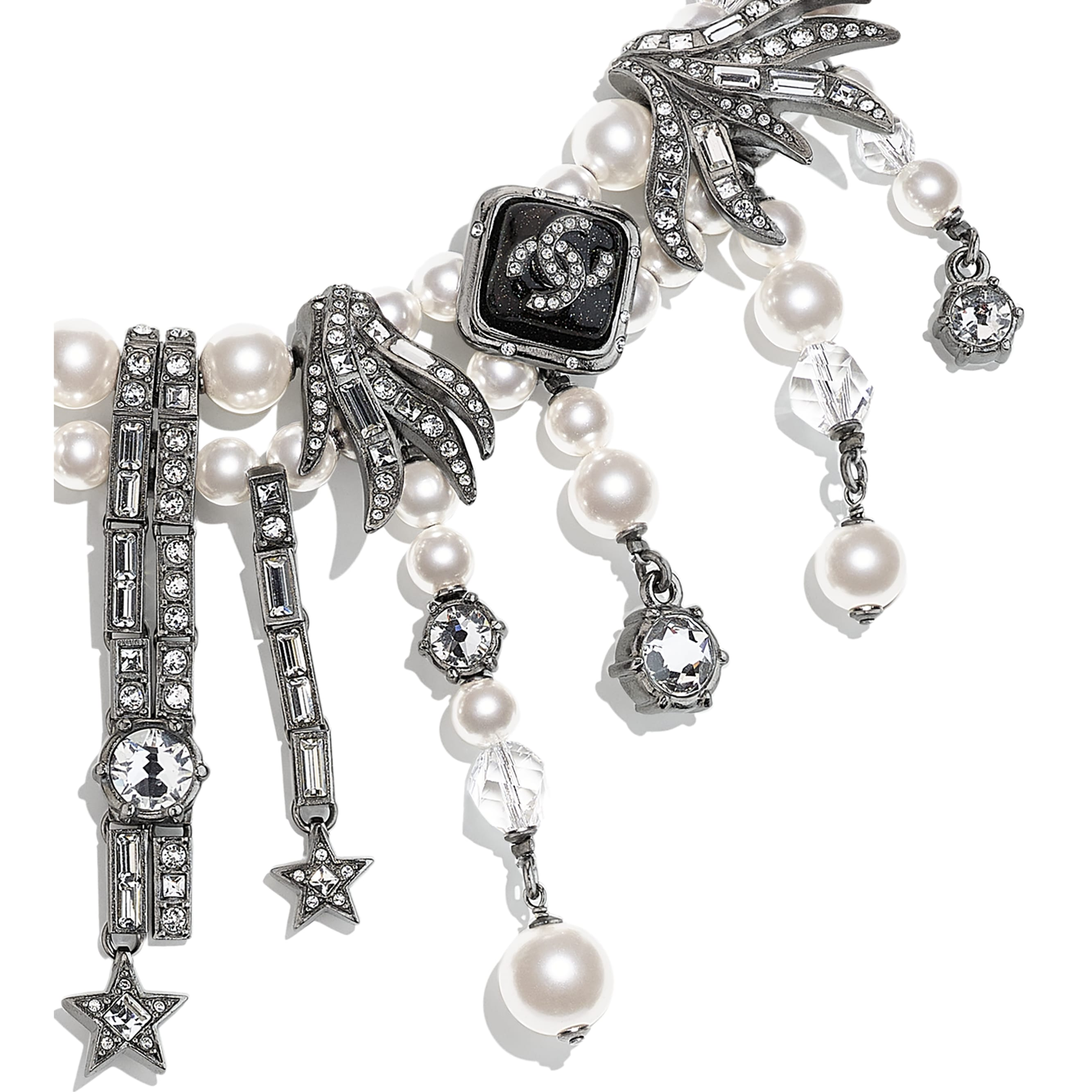 Necklace - Ruthenium, Pearly White, Black & Crystal - Metal, Glass Pearls, Glass & Strass - CHANEL - Other view - see standard sized version