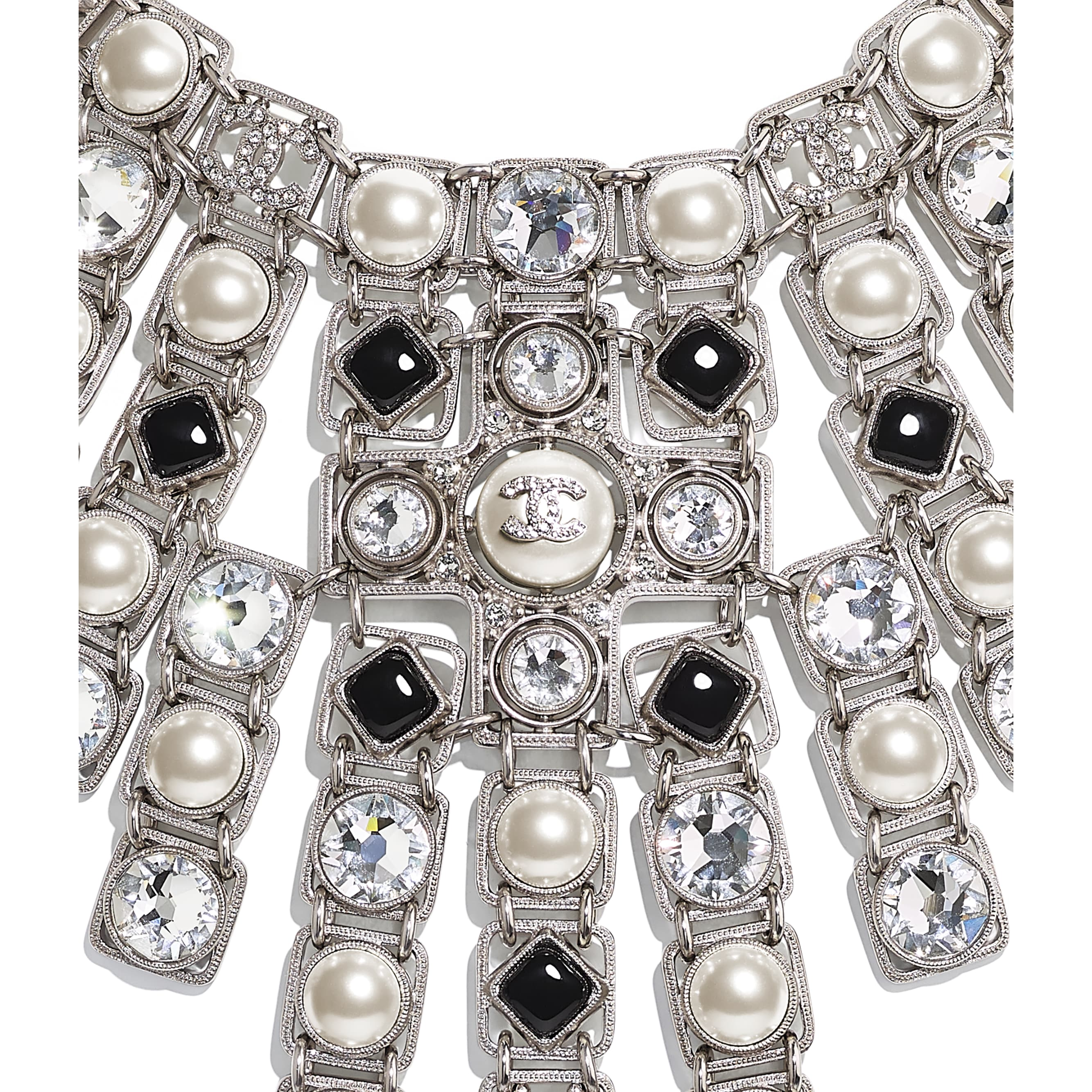 Necklace - Silver, Pearly White, Black & Crystal - Metal, glass pearls, imitation pearls, glass &  diamanté - CHANEL - Other view - see standard sized version