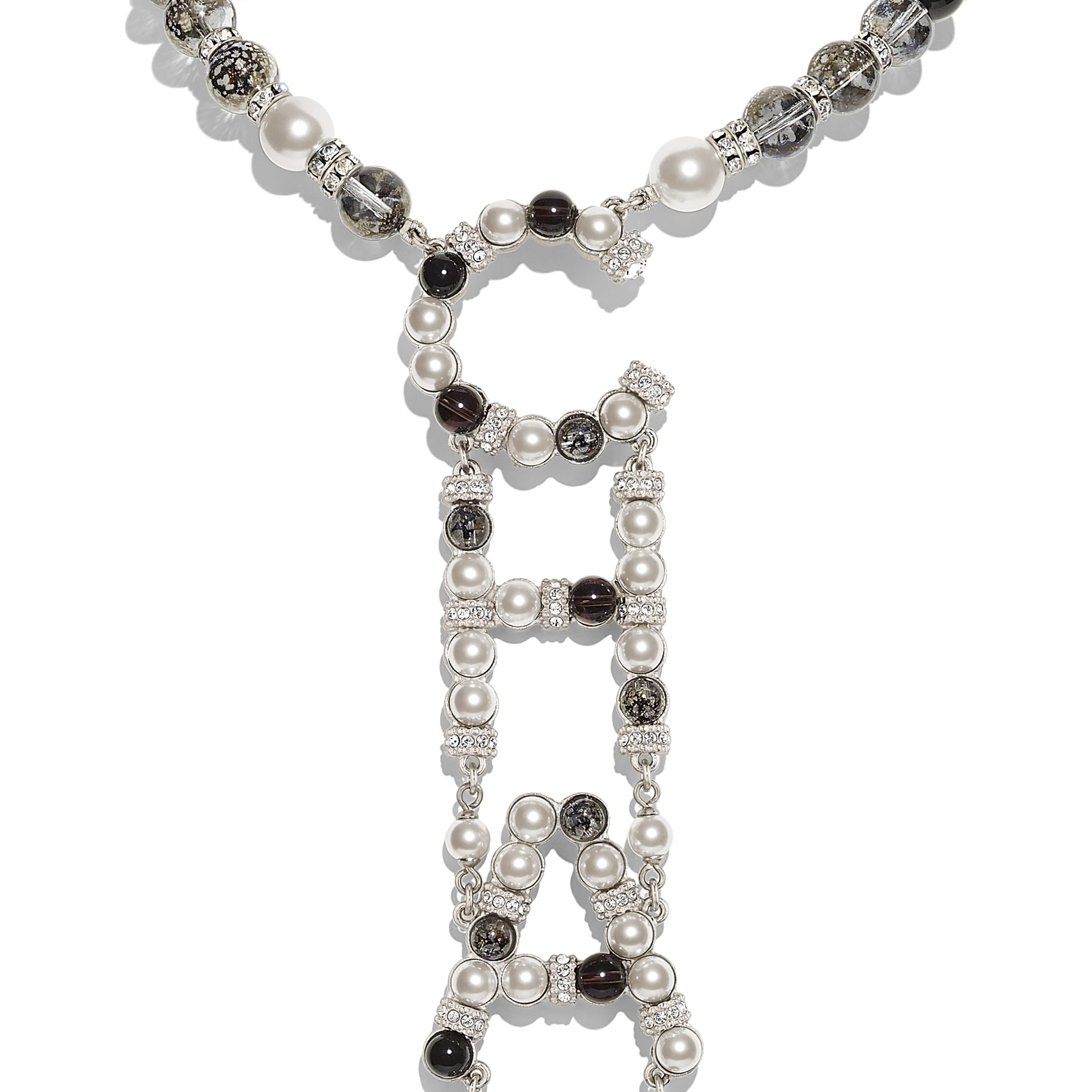 Necklace - Silver, Pearly White, Black & Crystal - Metal, Natural Stones, Glass Pearls & Strass - Other view - see standard sized version