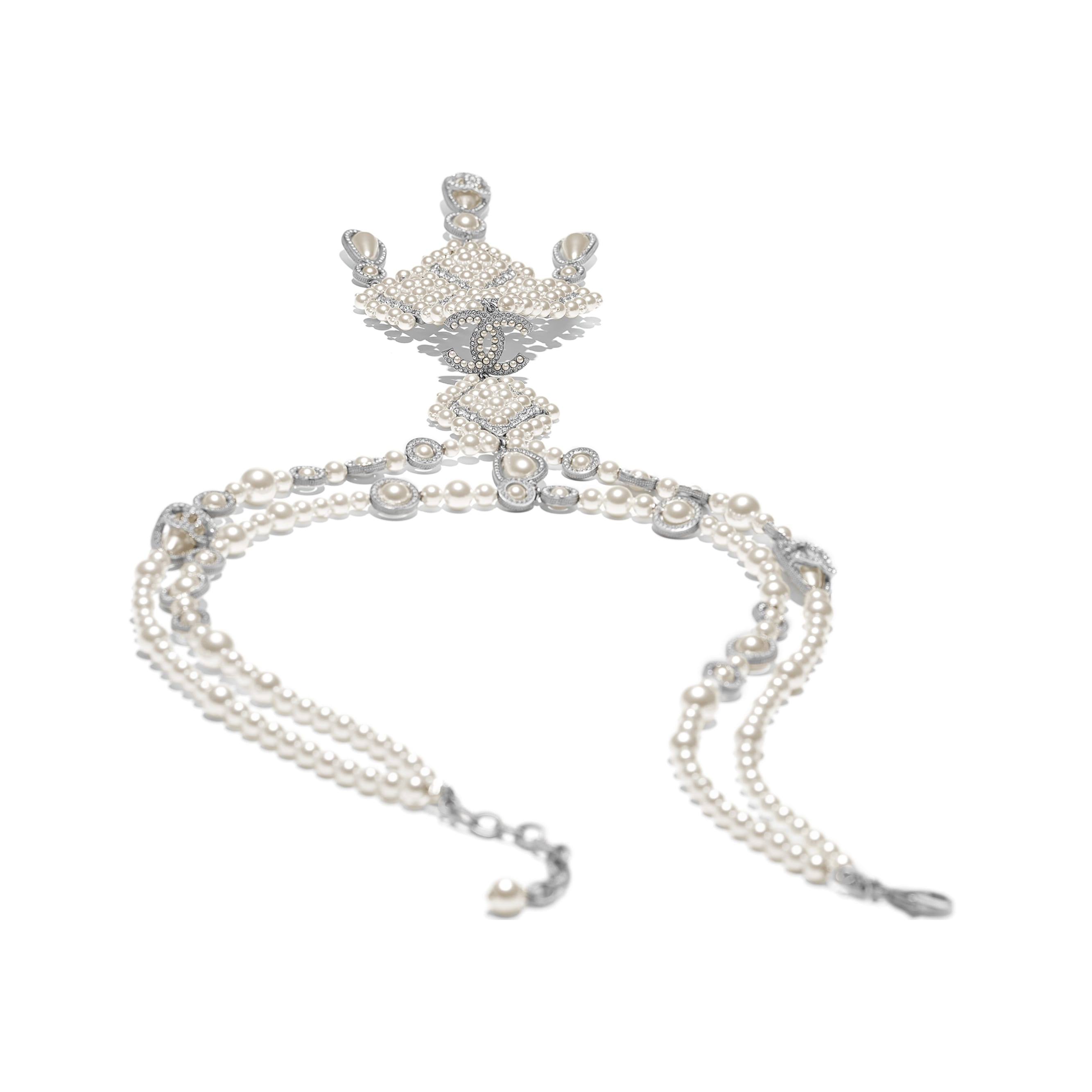 Necklace - Silver, Pearly White & Crystal - Metal, Glass Pearls & Diamantés - Alternative view - see standard sized version